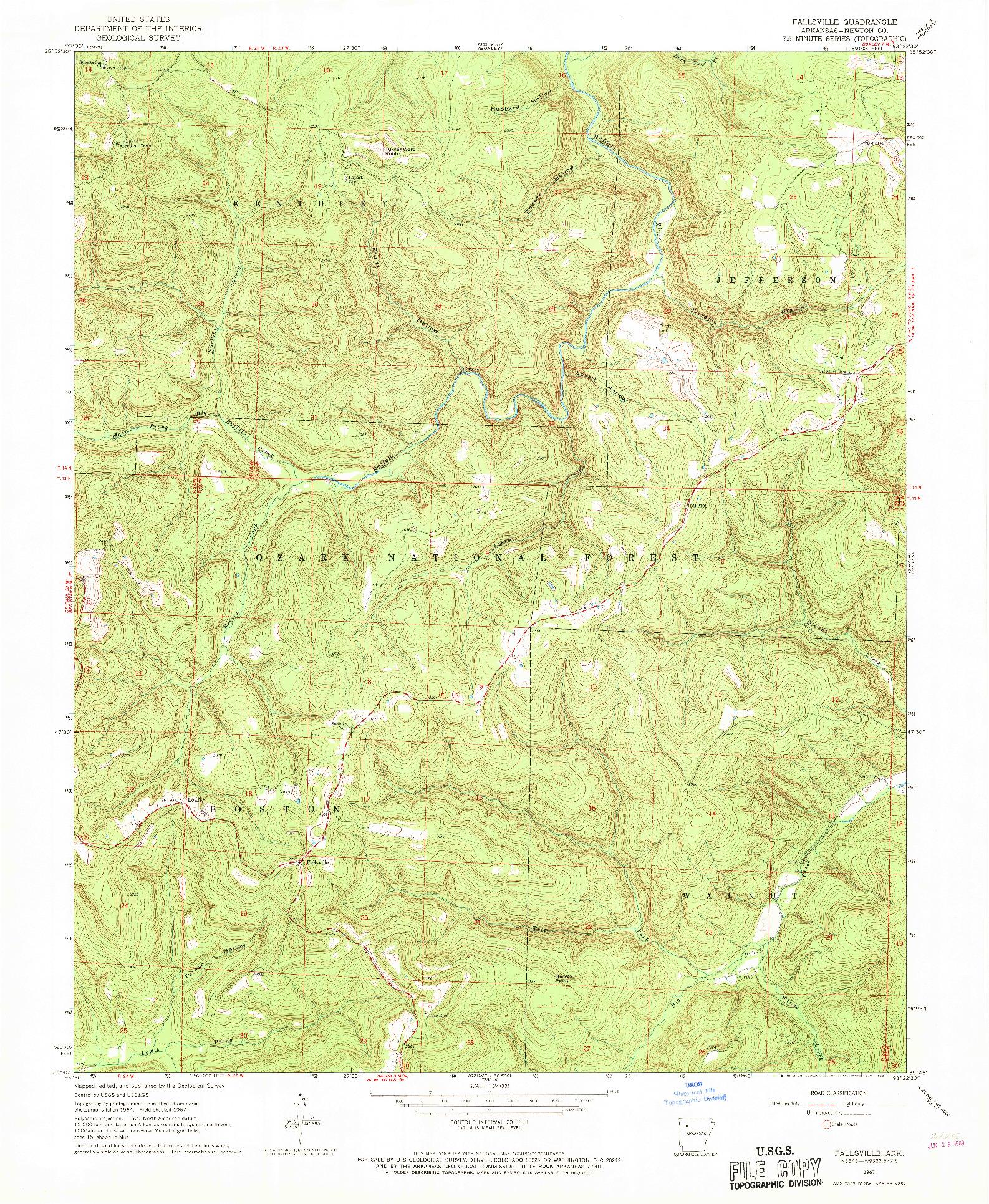 USGS 1:24000-SCALE QUADRANGLE FOR FALLSVILLE, AR 1967