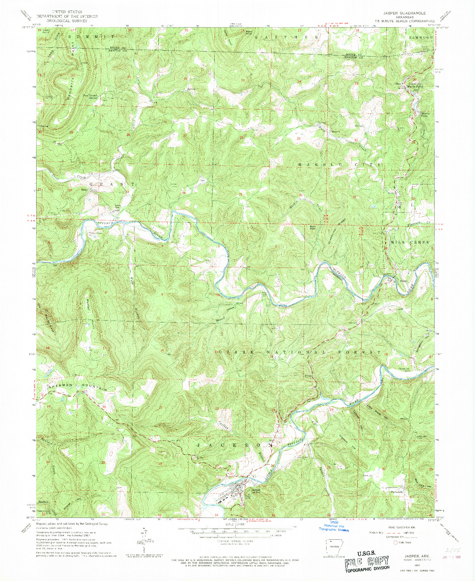 USGS 1:24000-SCALE QUADRANGLE FOR JASPER, AR 1967