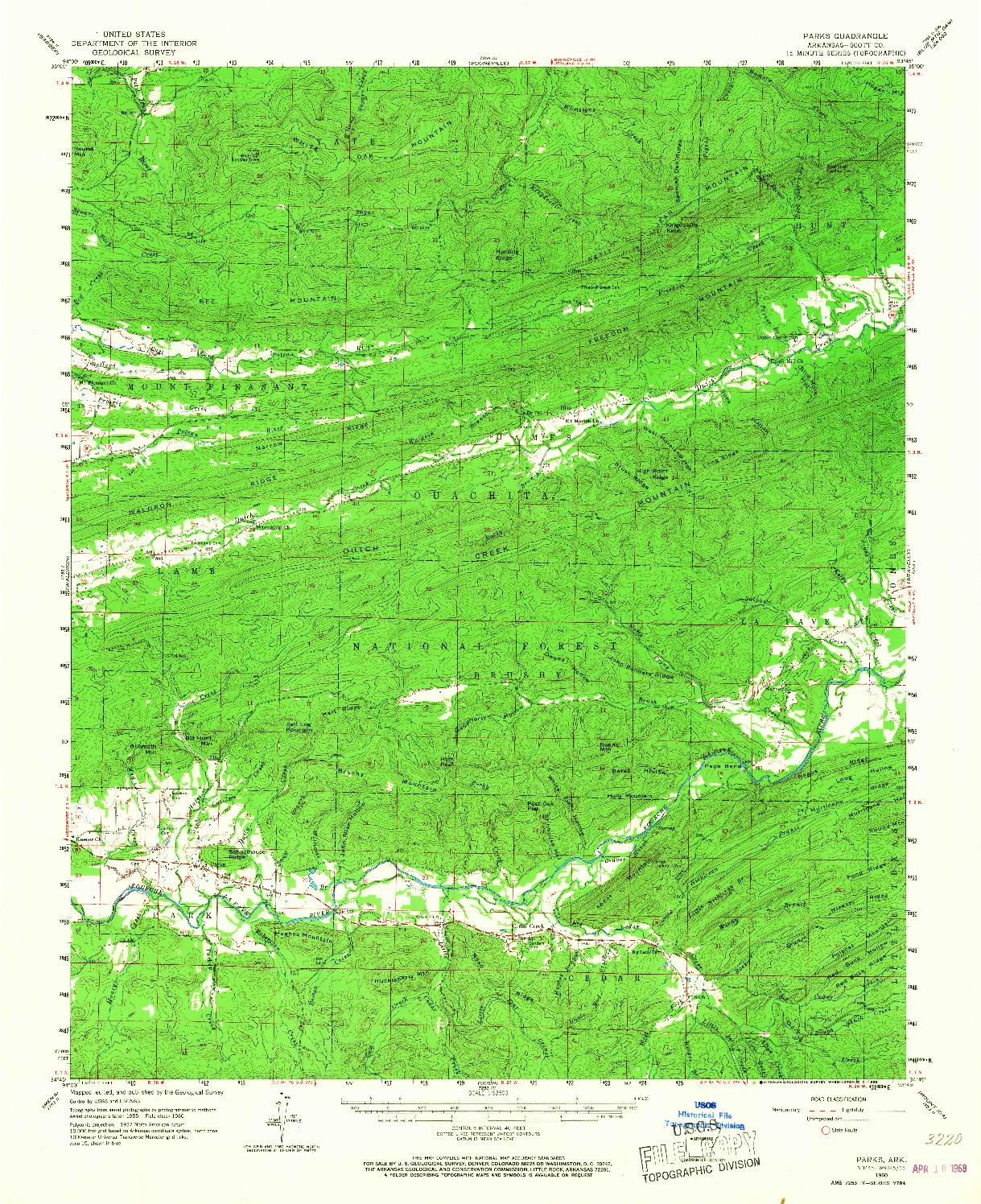 USGS 1:62500-SCALE QUADRANGLE FOR PARKS, AR 1960