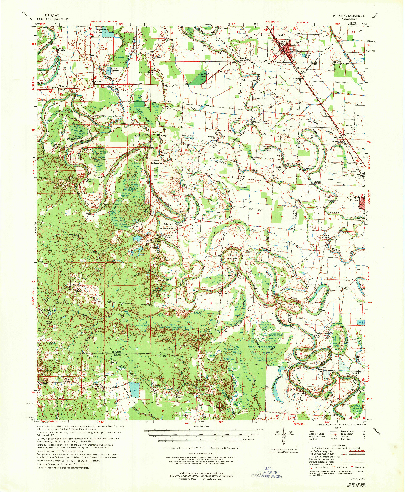 USGS 1:62500-SCALE QUADRANGLE FOR ROTAN, AR 1968