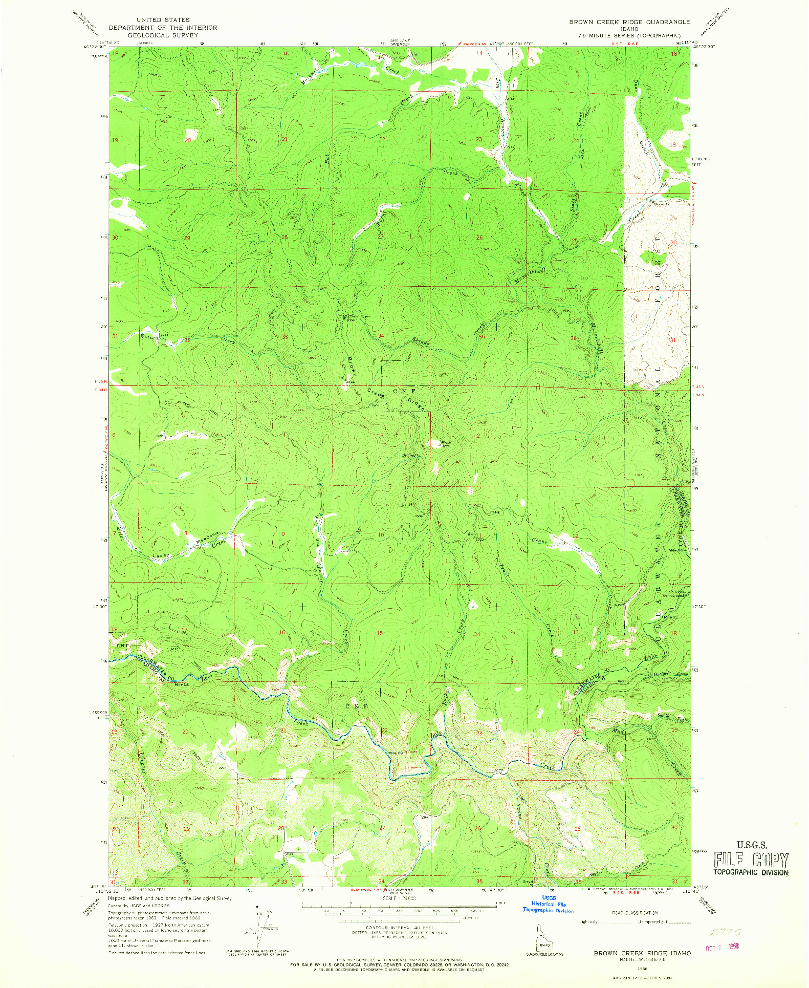USGS 1:24000-SCALE QUADRANGLE FOR BROWN CREEK RIDGE, ID 1966