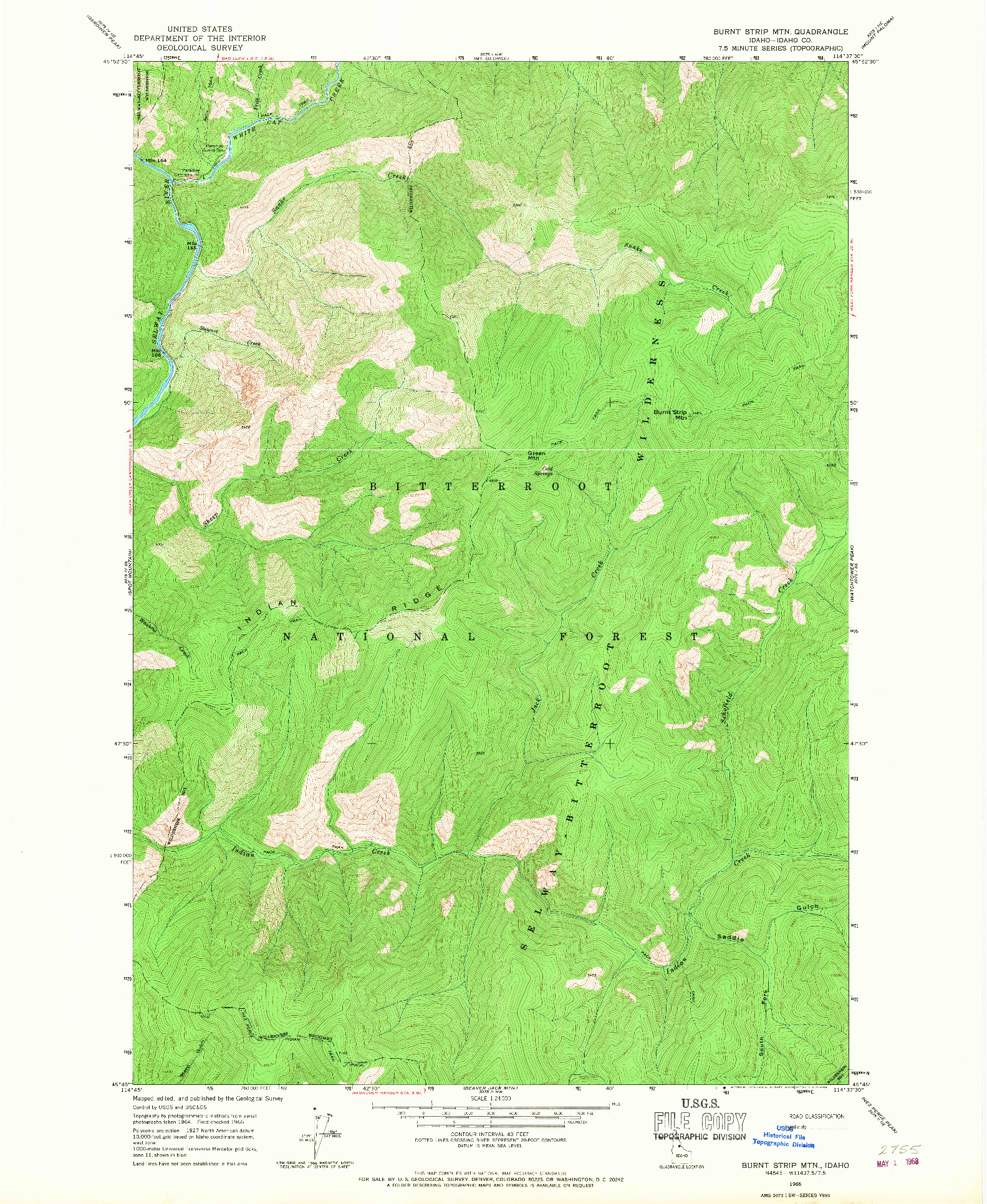 USGS 1:24000-SCALE QUADRANGLE FOR BURNT STRIP MTN, ID 1966
