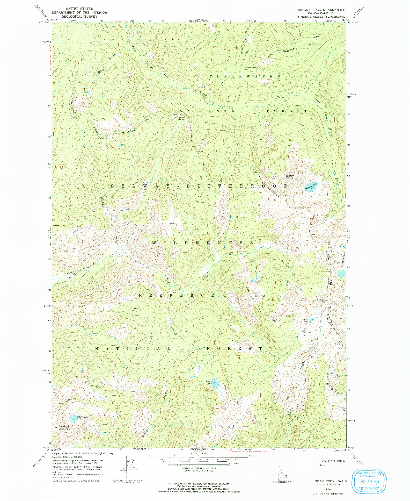 USGS 1:24000-SCALE QUADRANGLE FOR HUNGRY ROCK, ID 1966