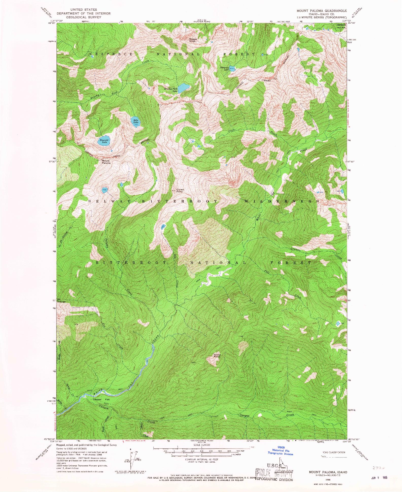 USGS 1:24000-SCALE QUADRANGLE FOR MOUNT PALOMA, ID 1966