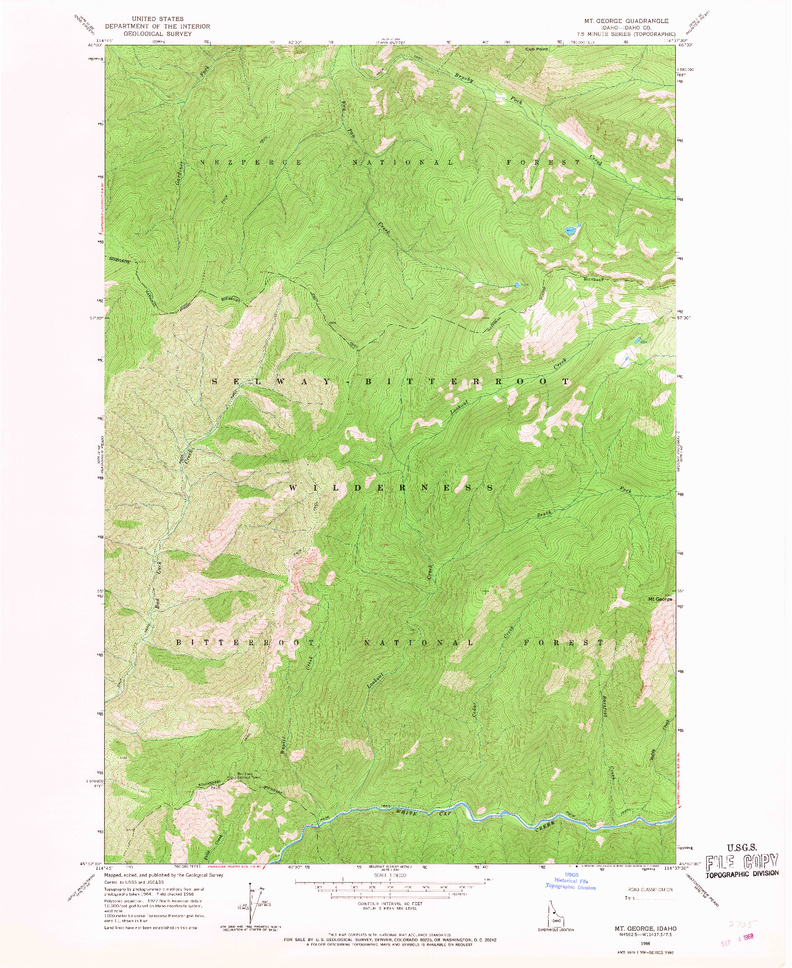 USGS 1:24000-SCALE QUADRANGLE FOR MT GEORGE, ID 1966