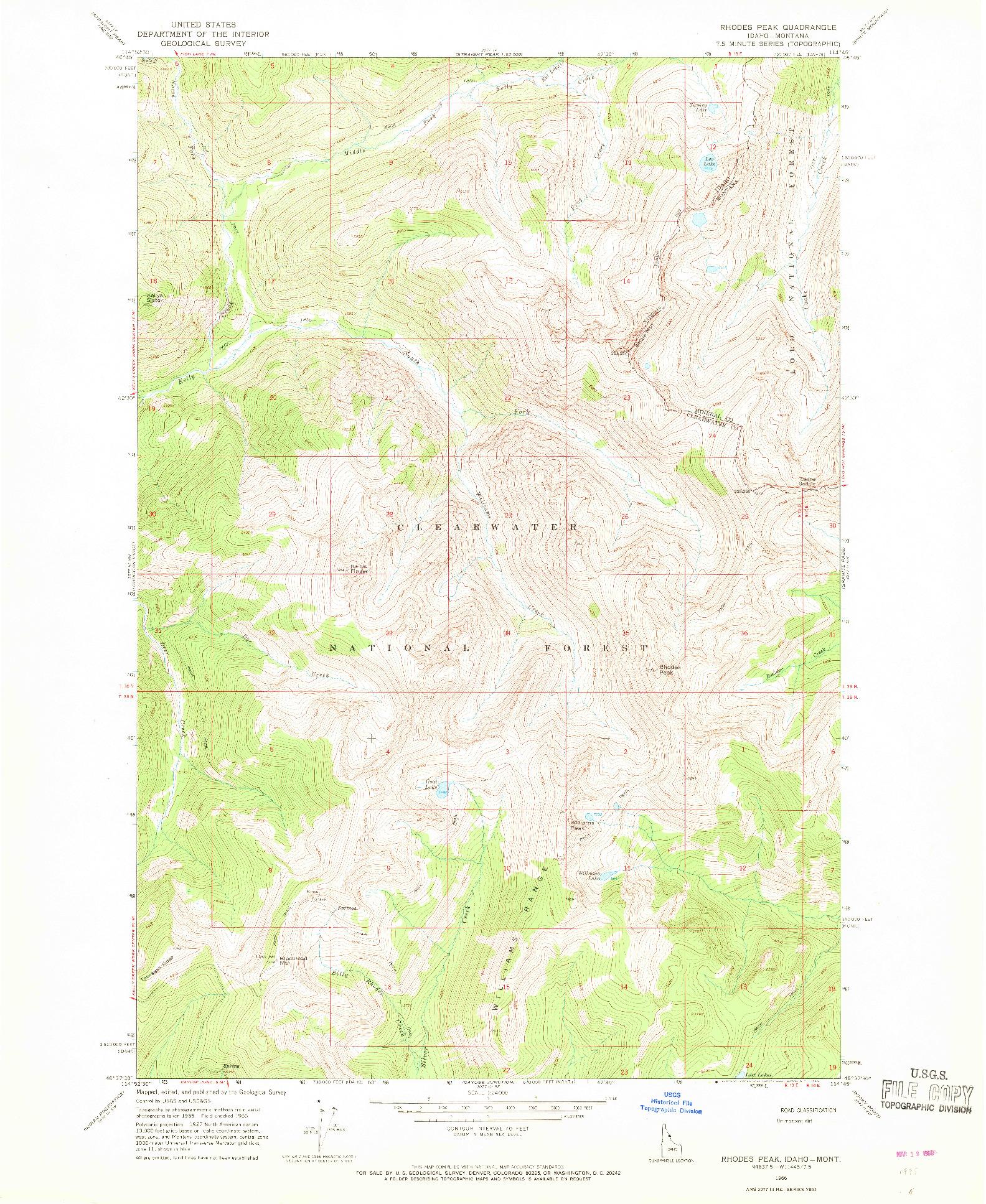 USGS 1:24000-SCALE QUADRANGLE FOR RHODES PEAK, ID 1966