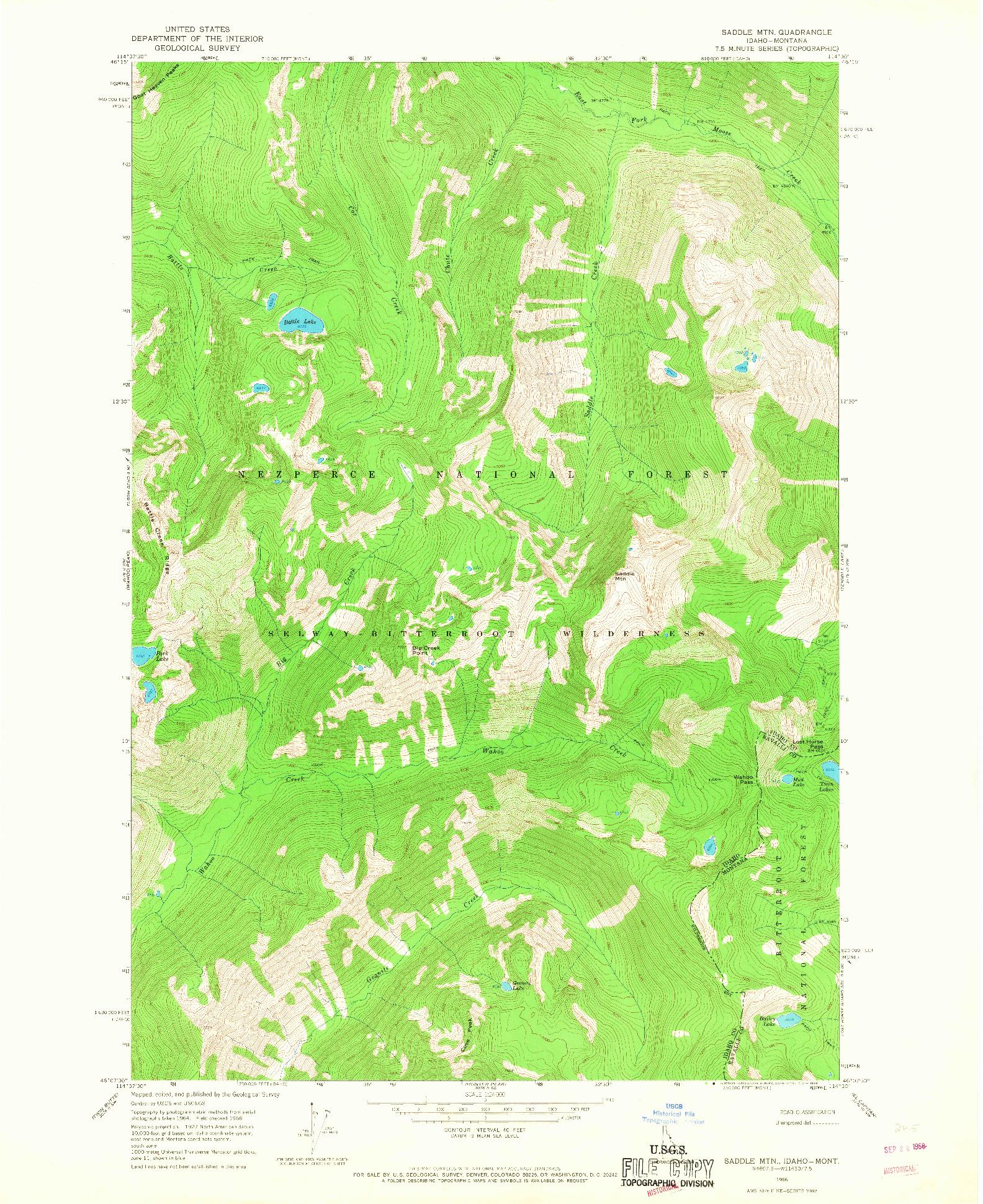 USGS 1:24000-SCALE QUADRANGLE FOR SADDLE MTN., ID 1966