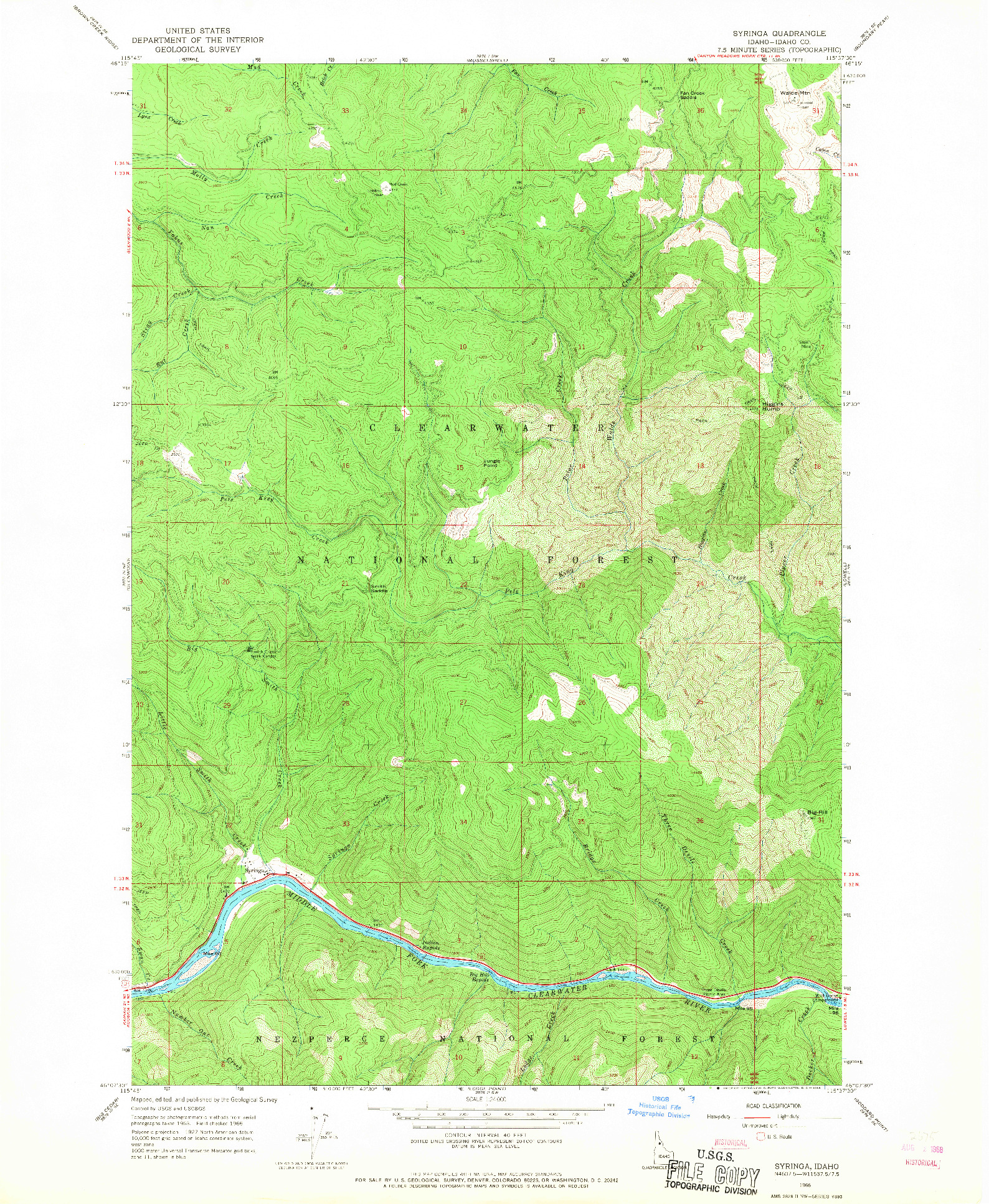 USGS 1:24000-SCALE QUADRANGLE FOR SYRINGA, ID 1966