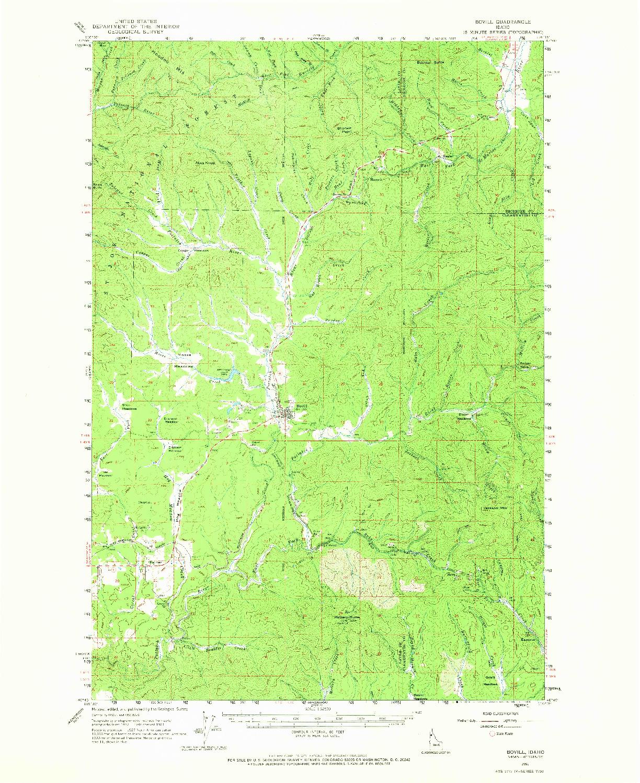 USGS 1:62500-SCALE QUADRANGLE FOR BOVILL, ID 1961
