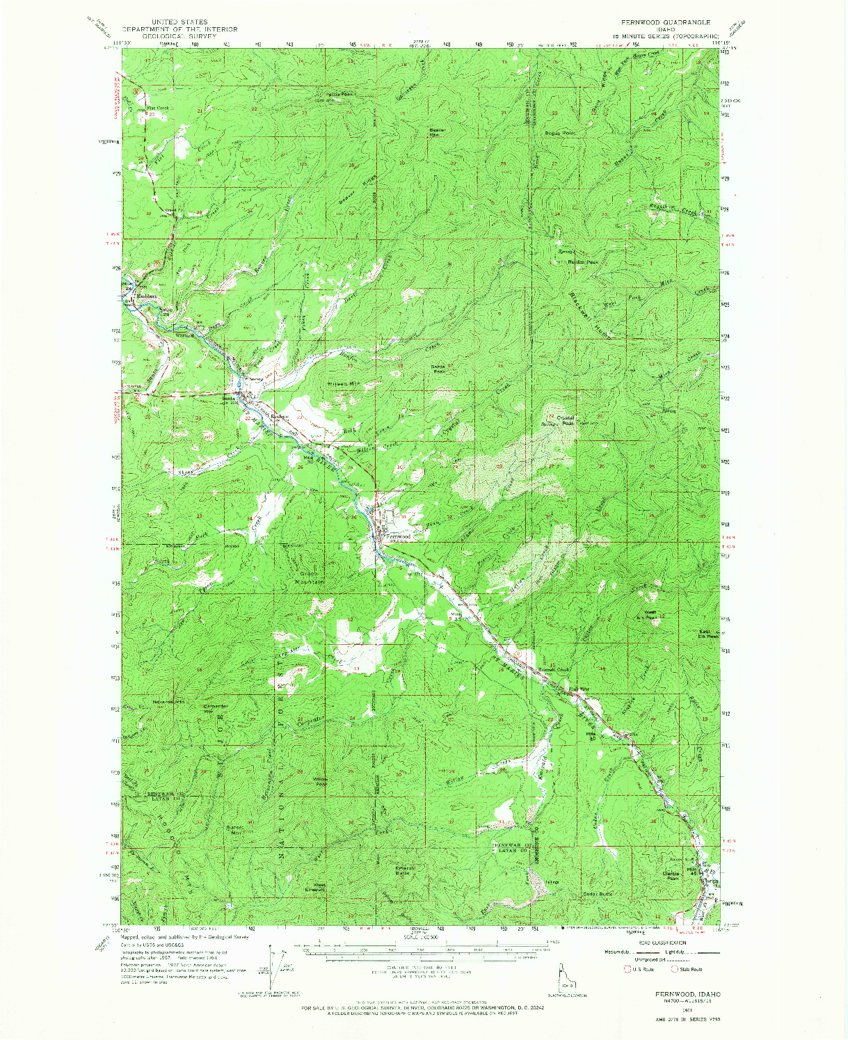 USGS 1:62500-SCALE QUADRANGLE FOR FERNWOOD, ID 1961