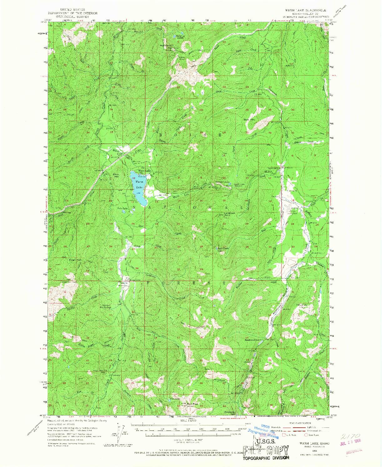 USGS 1:62500-SCALE QUADRANGLE FOR WARM LAKE, ID 1954