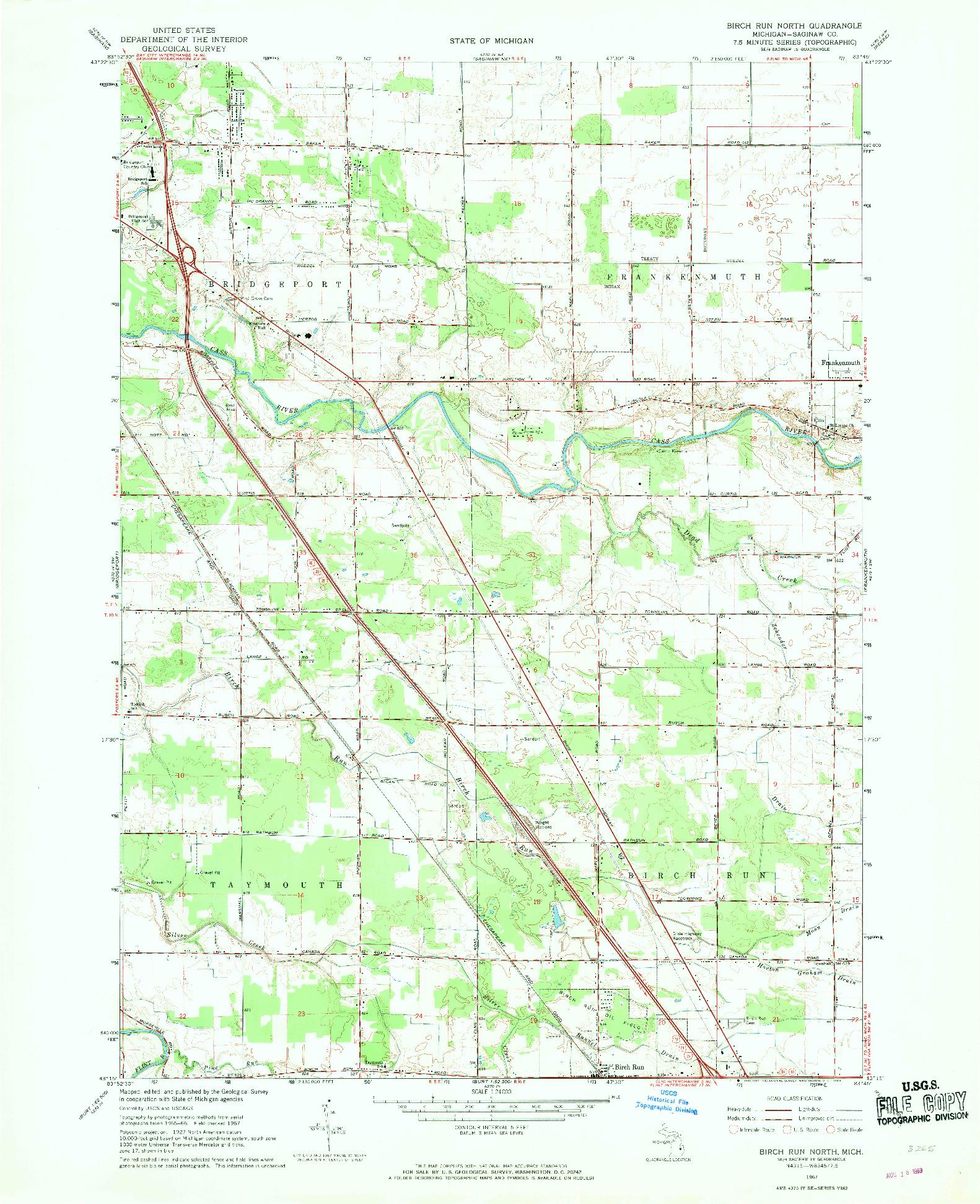 USGS 1:24000-SCALE QUADRANGLE FOR BIRCH RUN NORTH, MI 1967