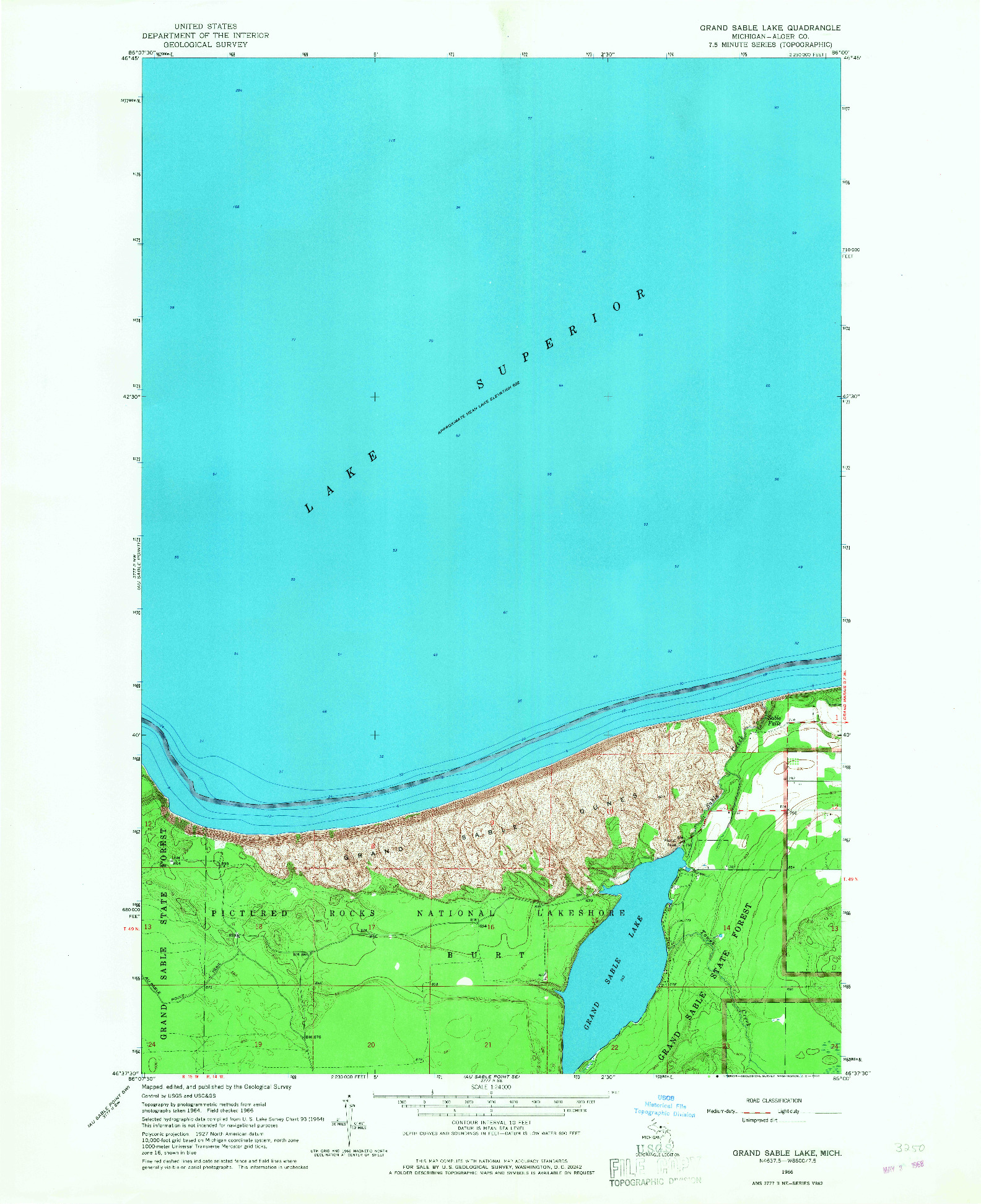 USGS 1:24000-SCALE QUADRANGLE FOR GRAND SABLE LAKE, MI 1966