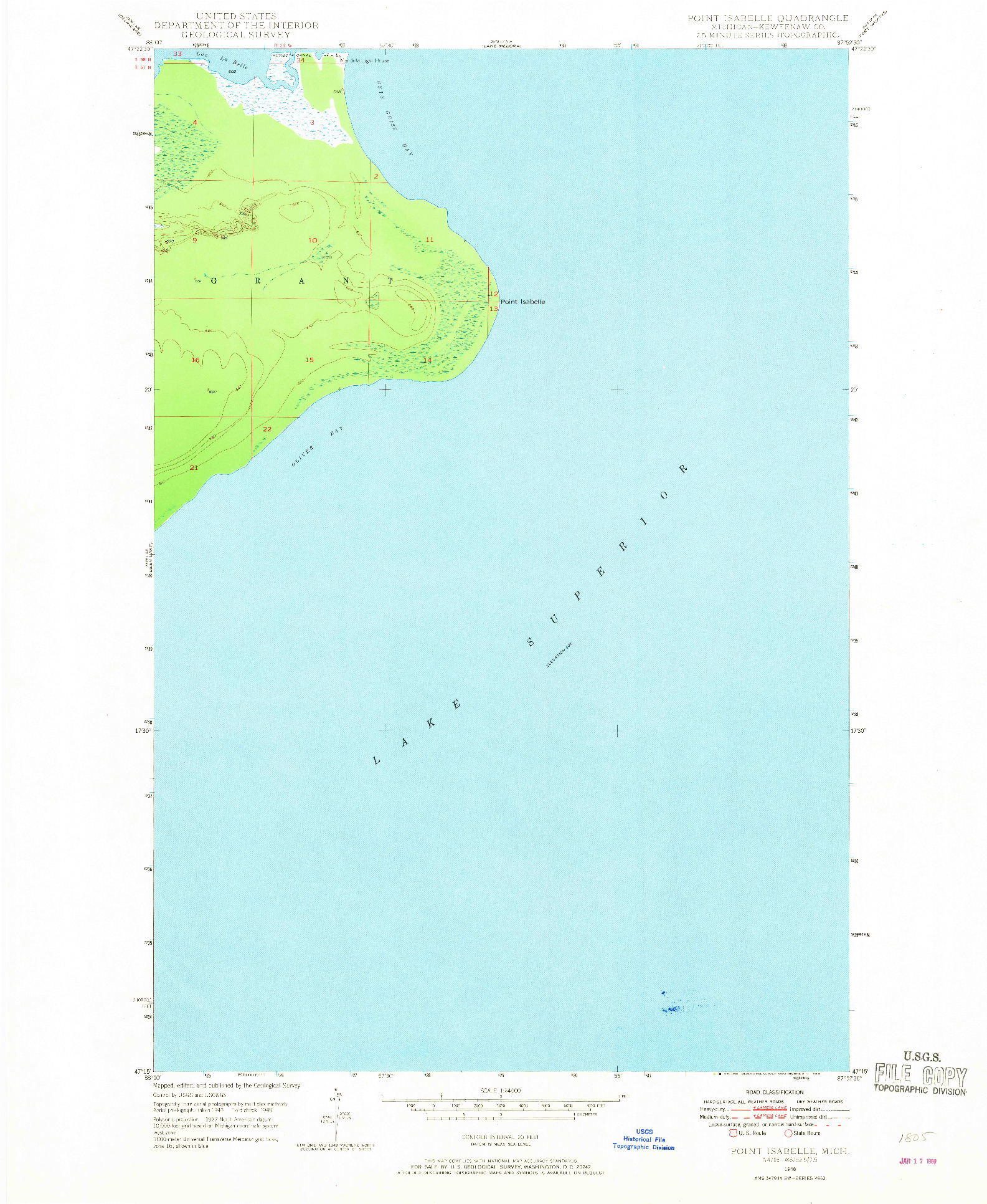 USGS 1:24000-SCALE QUADRANGLE FOR POINT ISABELLE, MI 1948
