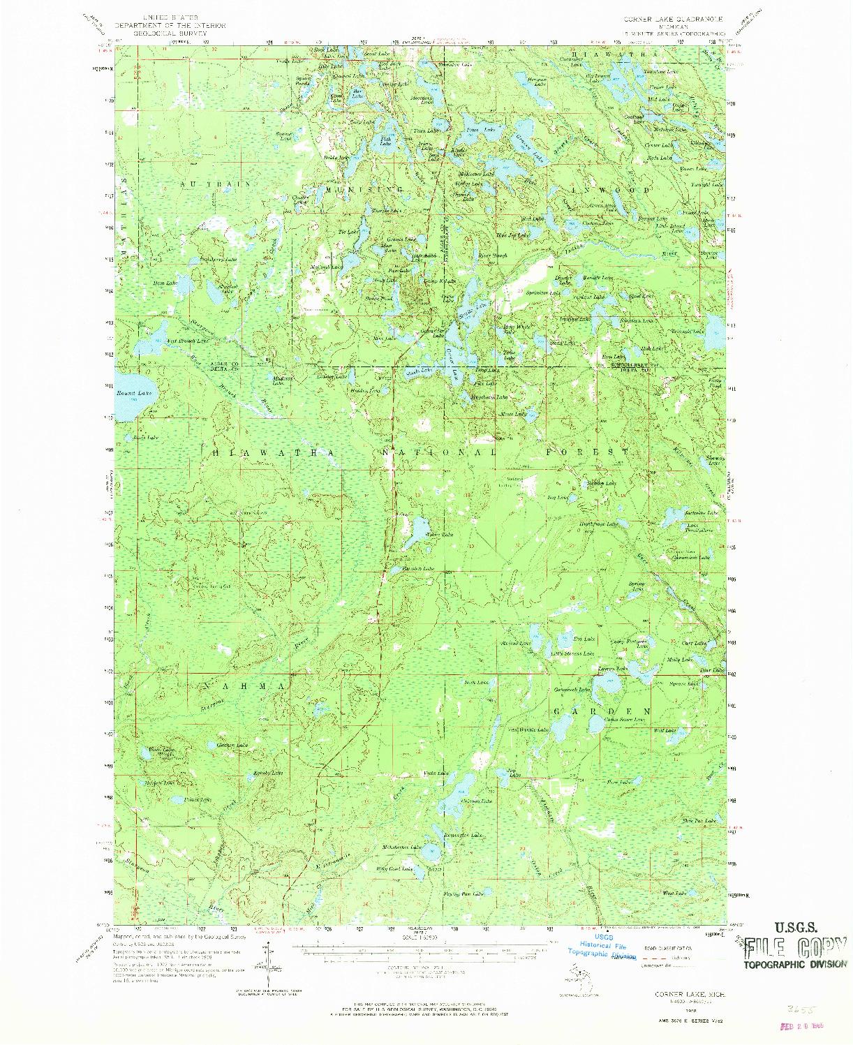 USGS 1:62500-SCALE QUADRANGLE FOR CORNER LAKE, MI 1958