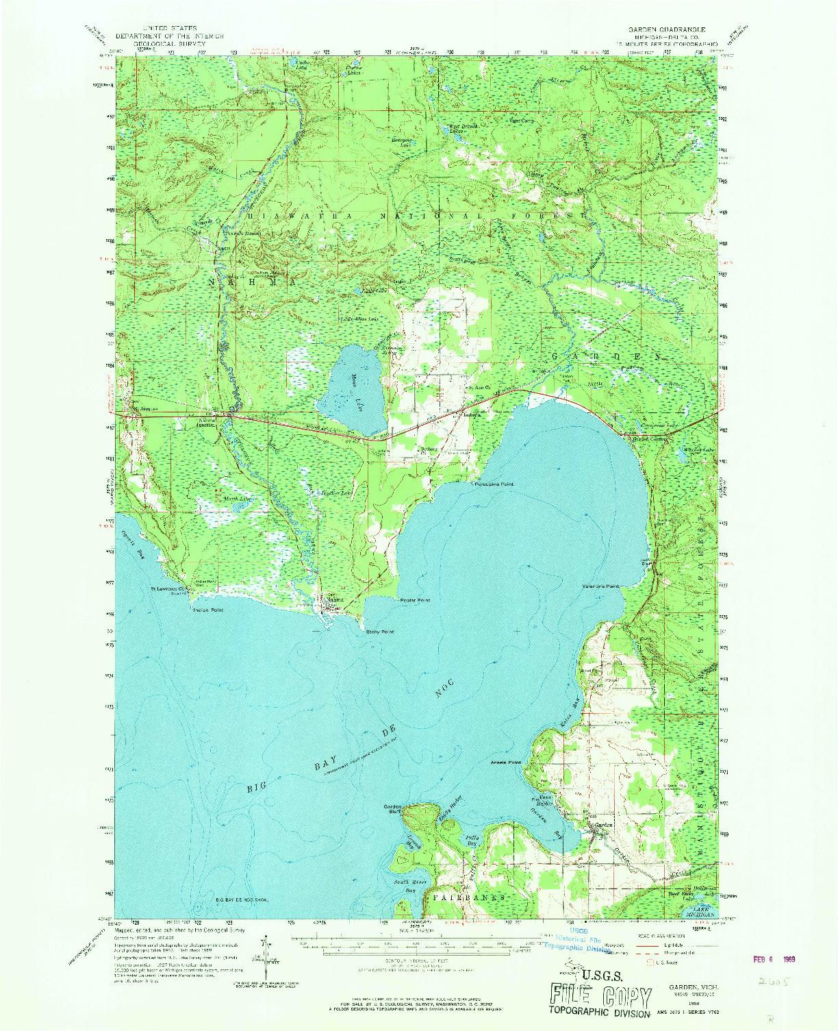 USGS 1:62500-SCALE QUADRANGLE FOR GARDEN, MI 1958