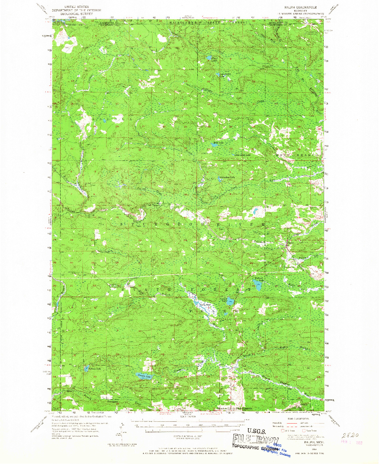 USGS 1:62500-SCALE QUADRANGLE FOR RALPH, MI 1955