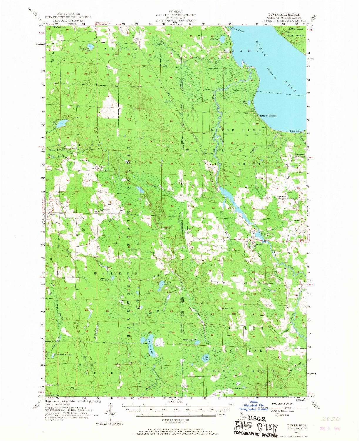 USGS 1:62500-SCALE QUADRANGLE FOR TOWER, MI 1957