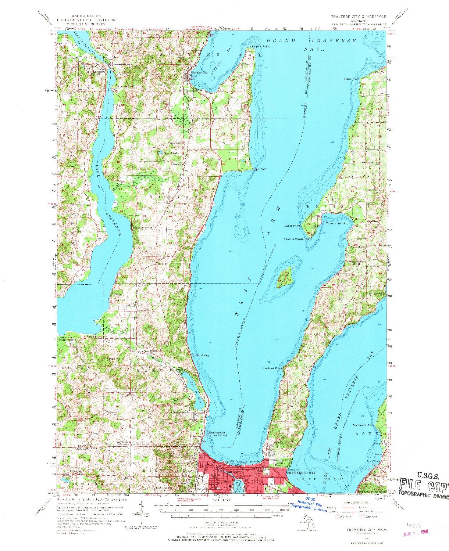 USGS 1:62500-SCALE QUADRANGLE FOR TRAVERSE CITY, MI 1957