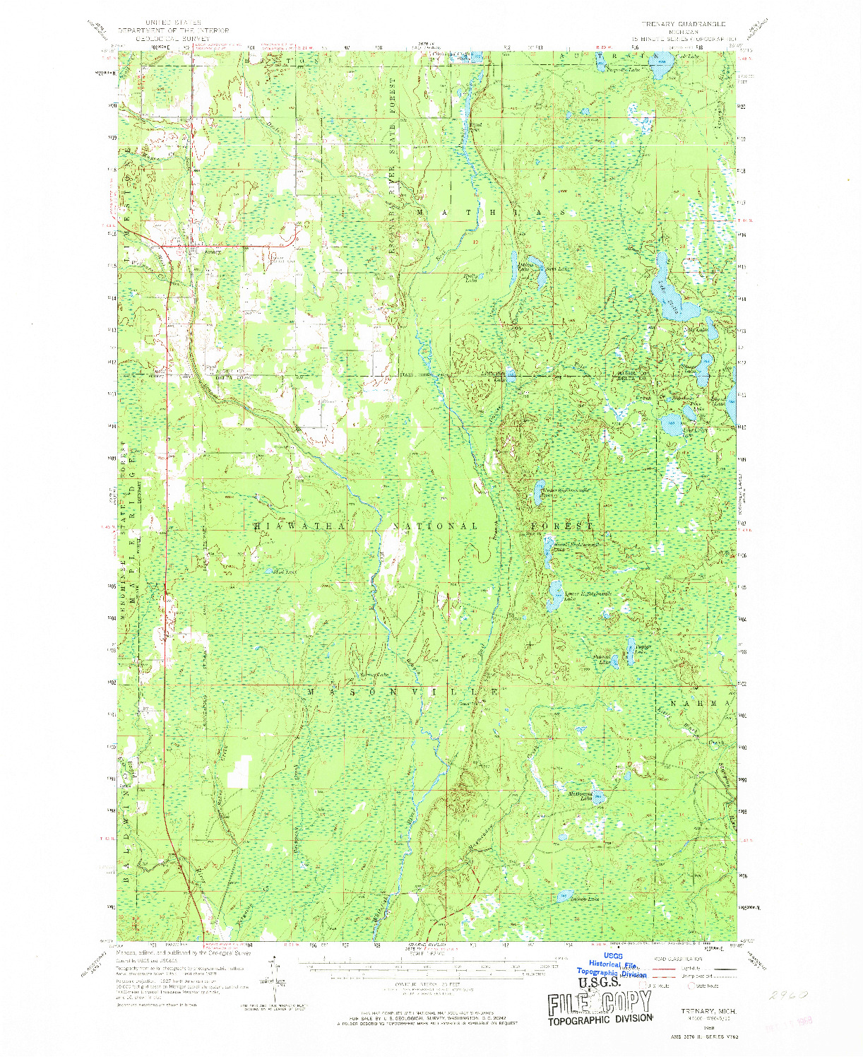 USGS 1:62500-SCALE QUADRANGLE FOR TRENARY, MI 1958