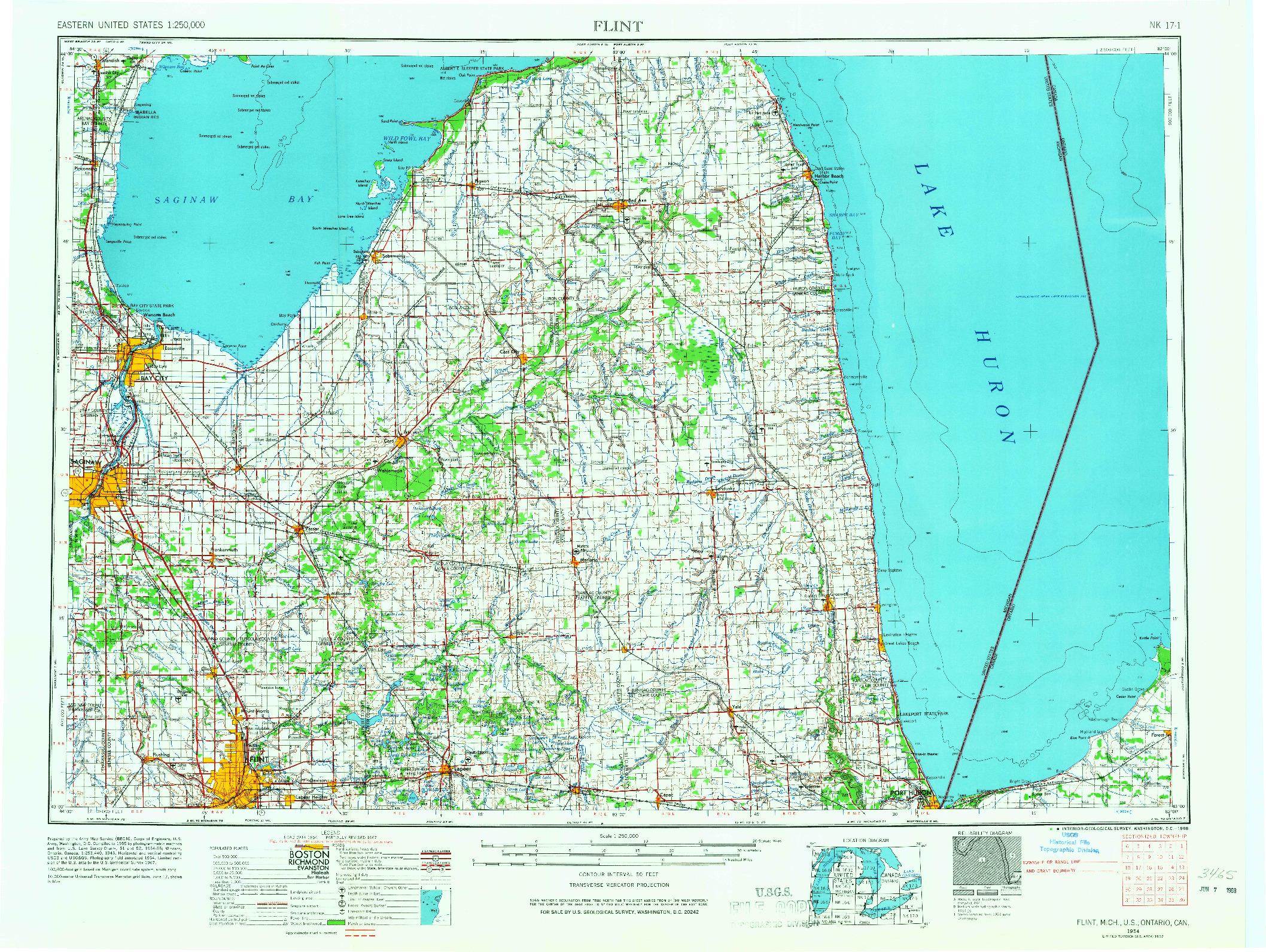USGS 1:250000-SCALE QUADRANGLE FOR FLINT, MI 1954