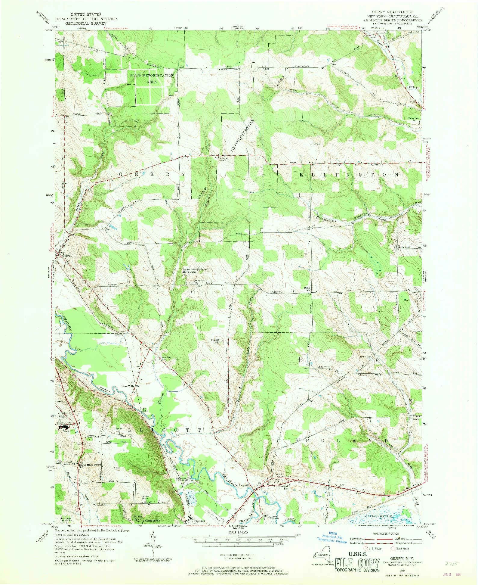 USGS 1:24000-SCALE QUADRANGLE FOR GERRY, NY 1954