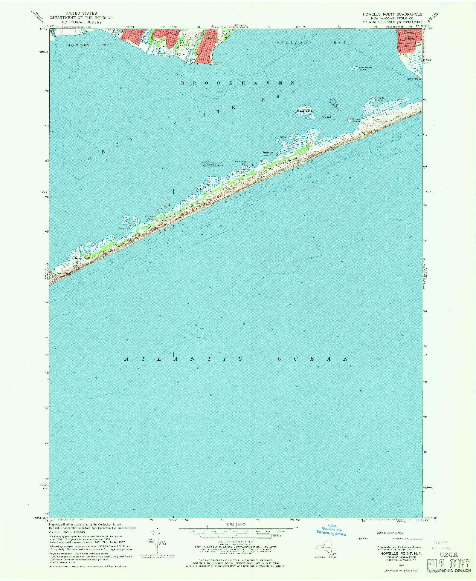 USGS 1:24000-SCALE QUADRANGLE FOR HOWELLS POINT, NY 1967