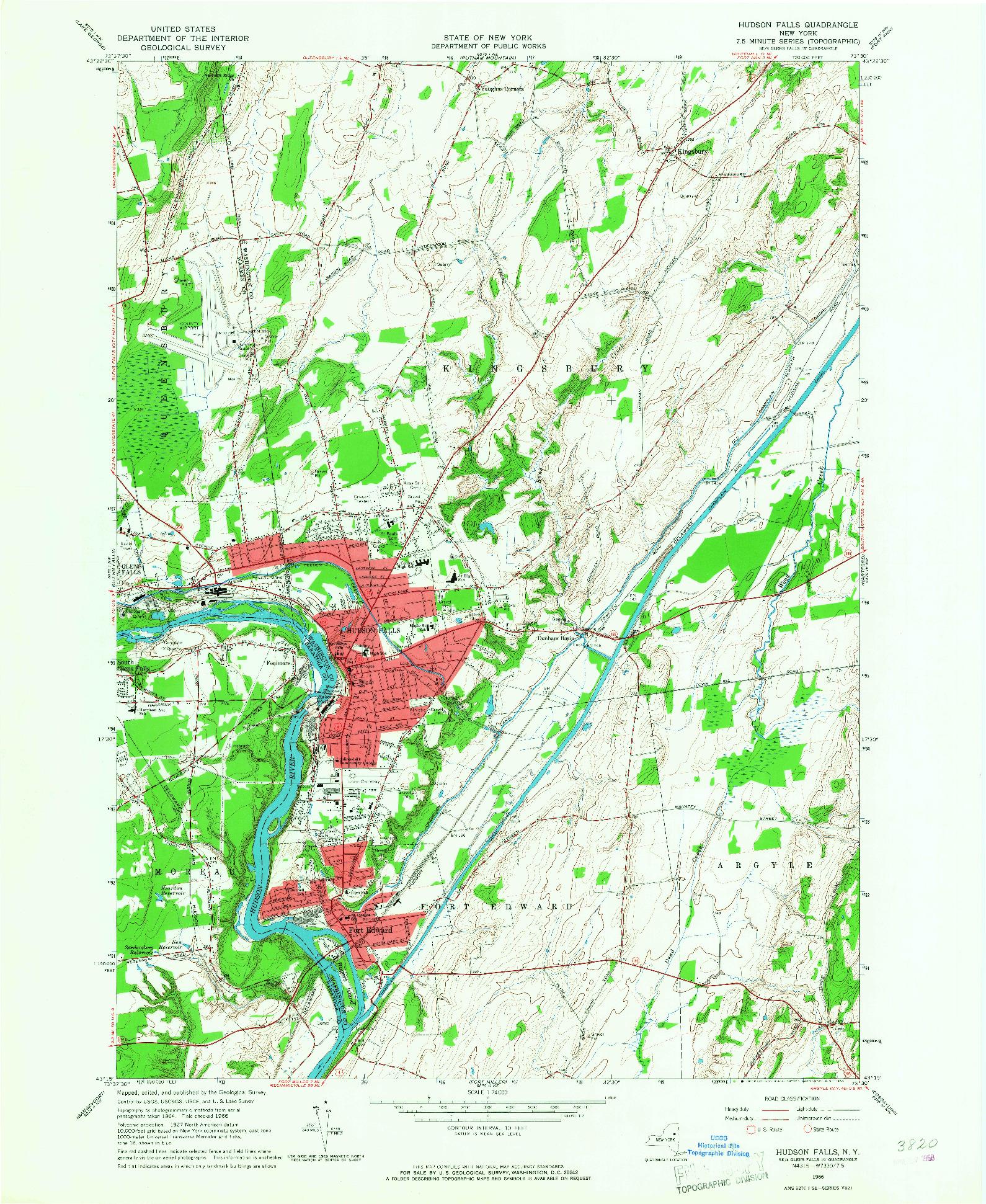 USGS 1:24000-SCALE QUADRANGLE FOR HUDSON FALLS, NY 1966