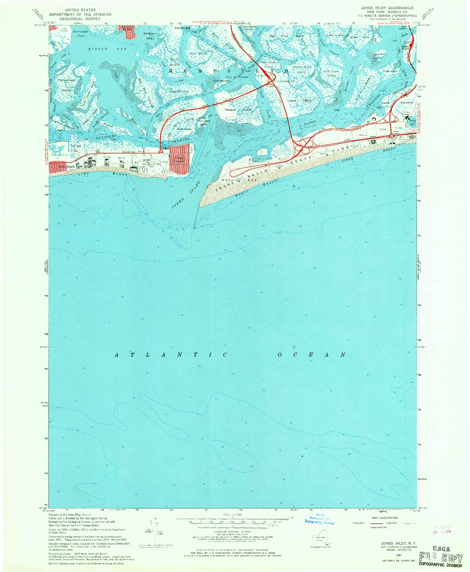 USGS 1:24000-SCALE QUADRANGLE FOR JONES INLET, NY 1967