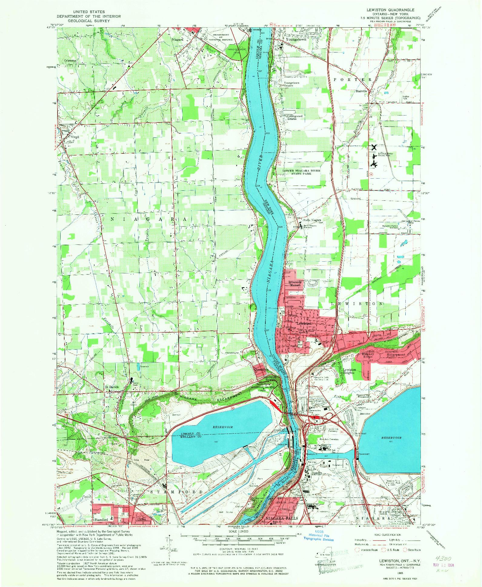 USGS 1:24000-SCALE QUADRANGLE FOR LEWISTON, NY 1965