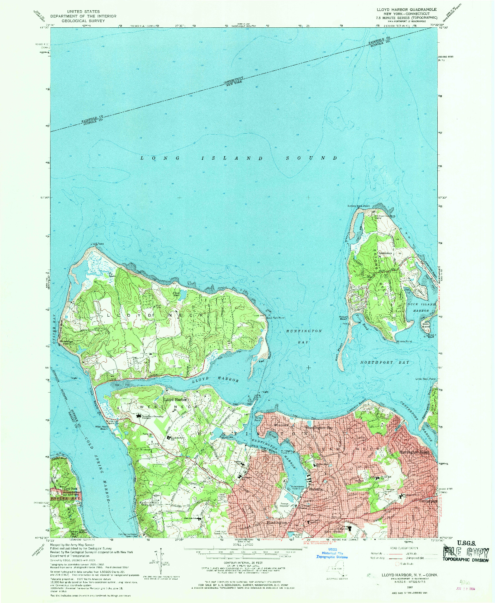 USGS 1:24000-SCALE QUADRANGLE FOR LLOYD HARBOR, NY 1967