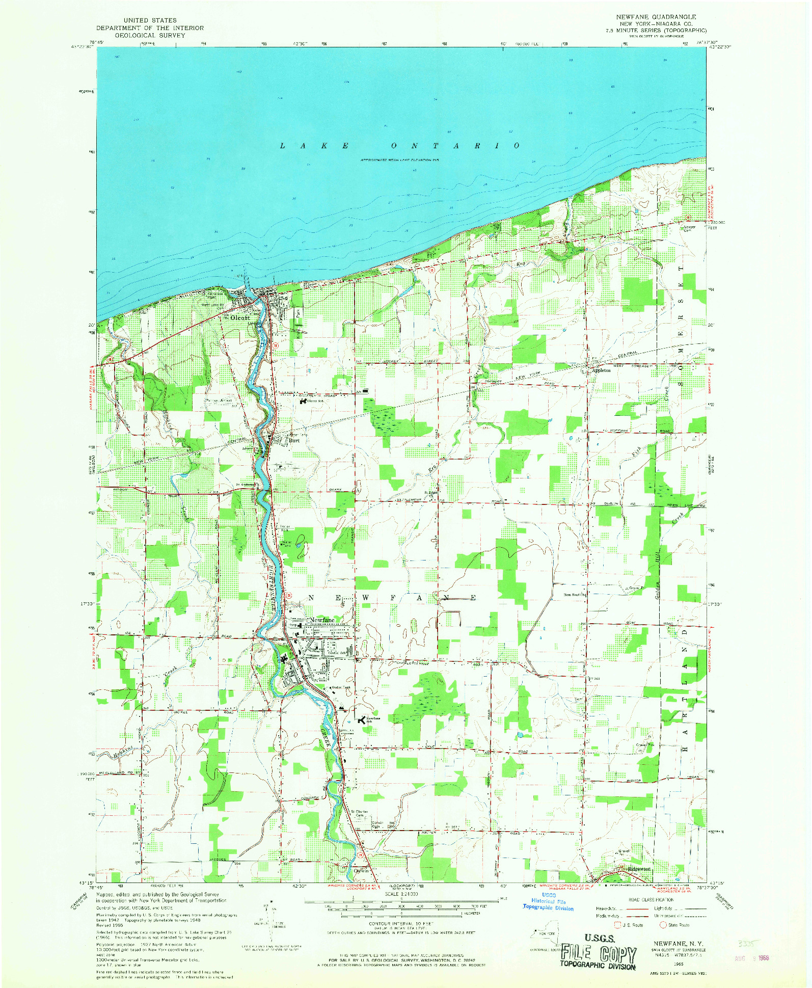 USGS 1:24000-SCALE QUADRANGLE FOR NEWFANE, NY 1965