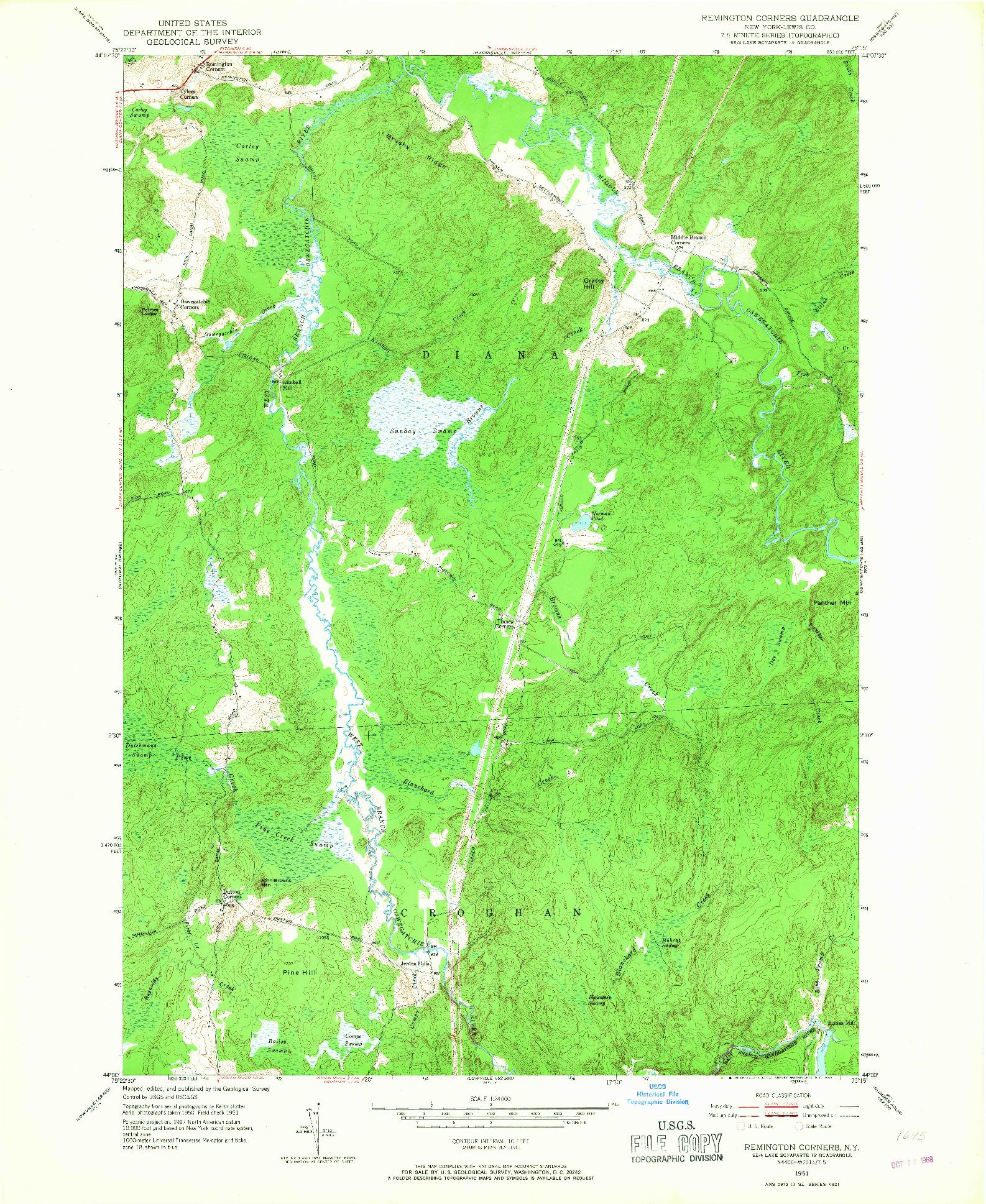 USGS 1:24000-SCALE QUADRANGLE FOR REMINGTON CORNERS, NY 1951