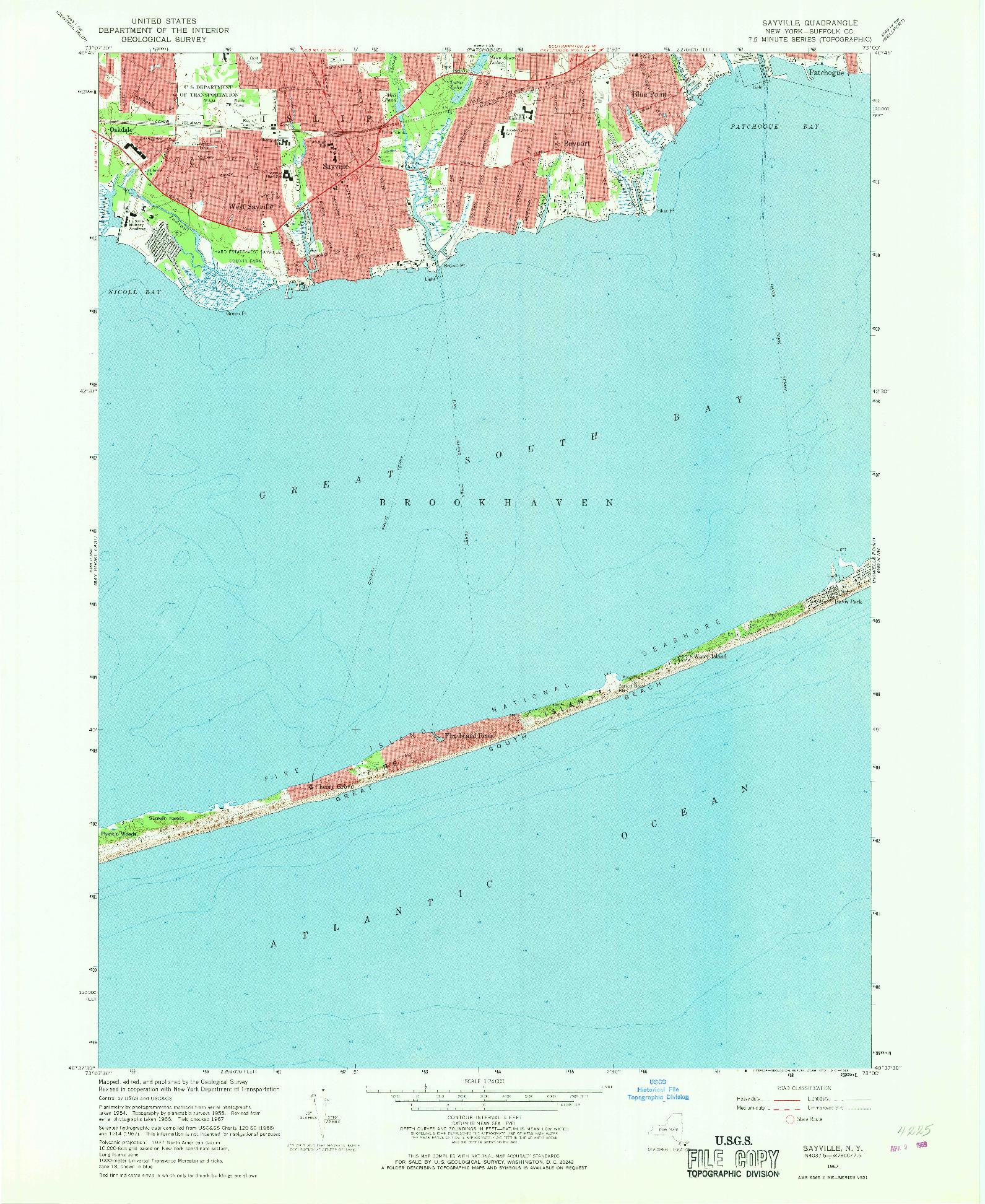 USGS 1:24000-SCALE QUADRANGLE FOR SAYVILLE, NY 1967
