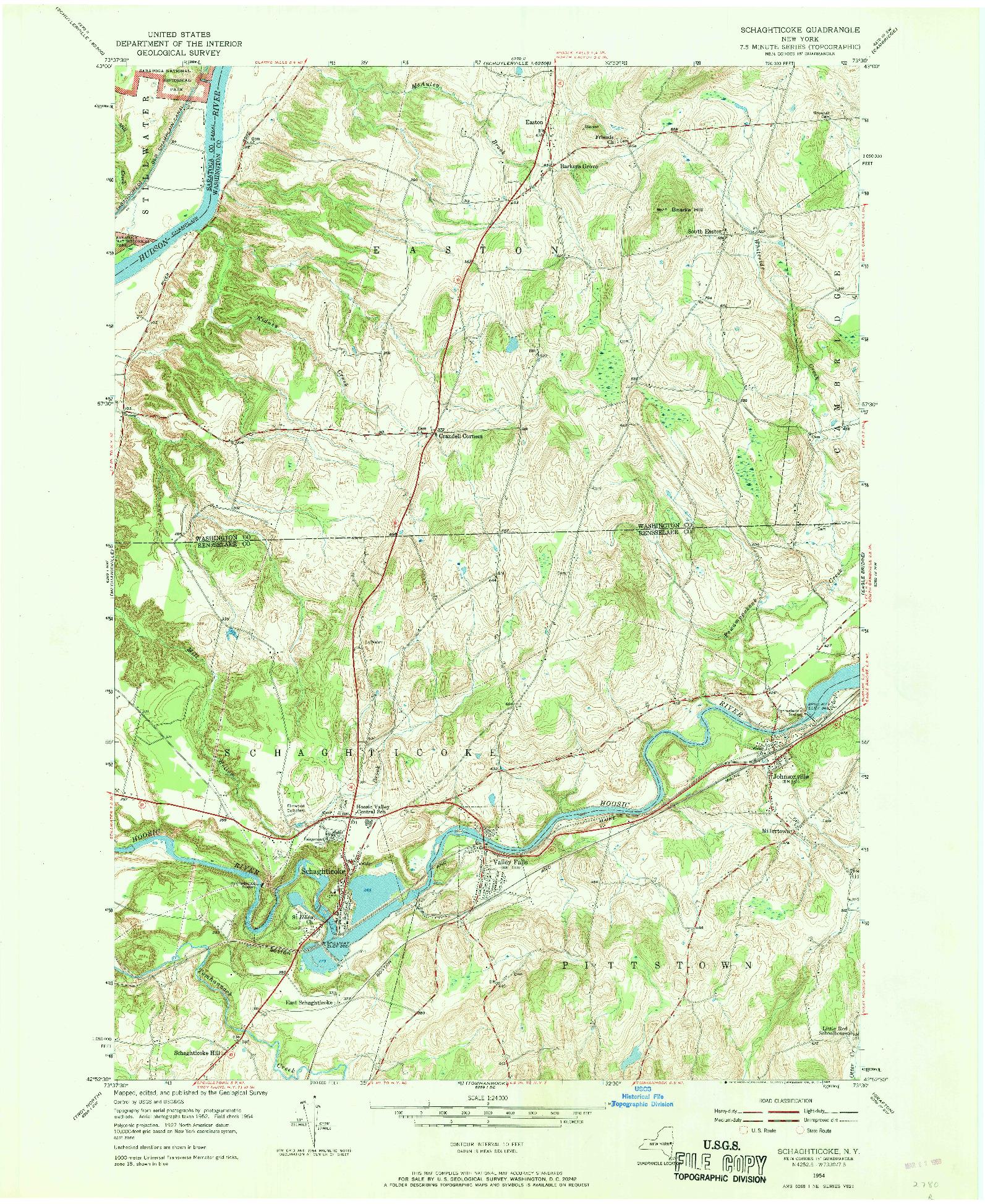 USGS 1:24000-SCALE QUADRANGLE FOR SCHAGHTICOKE, NY 1954