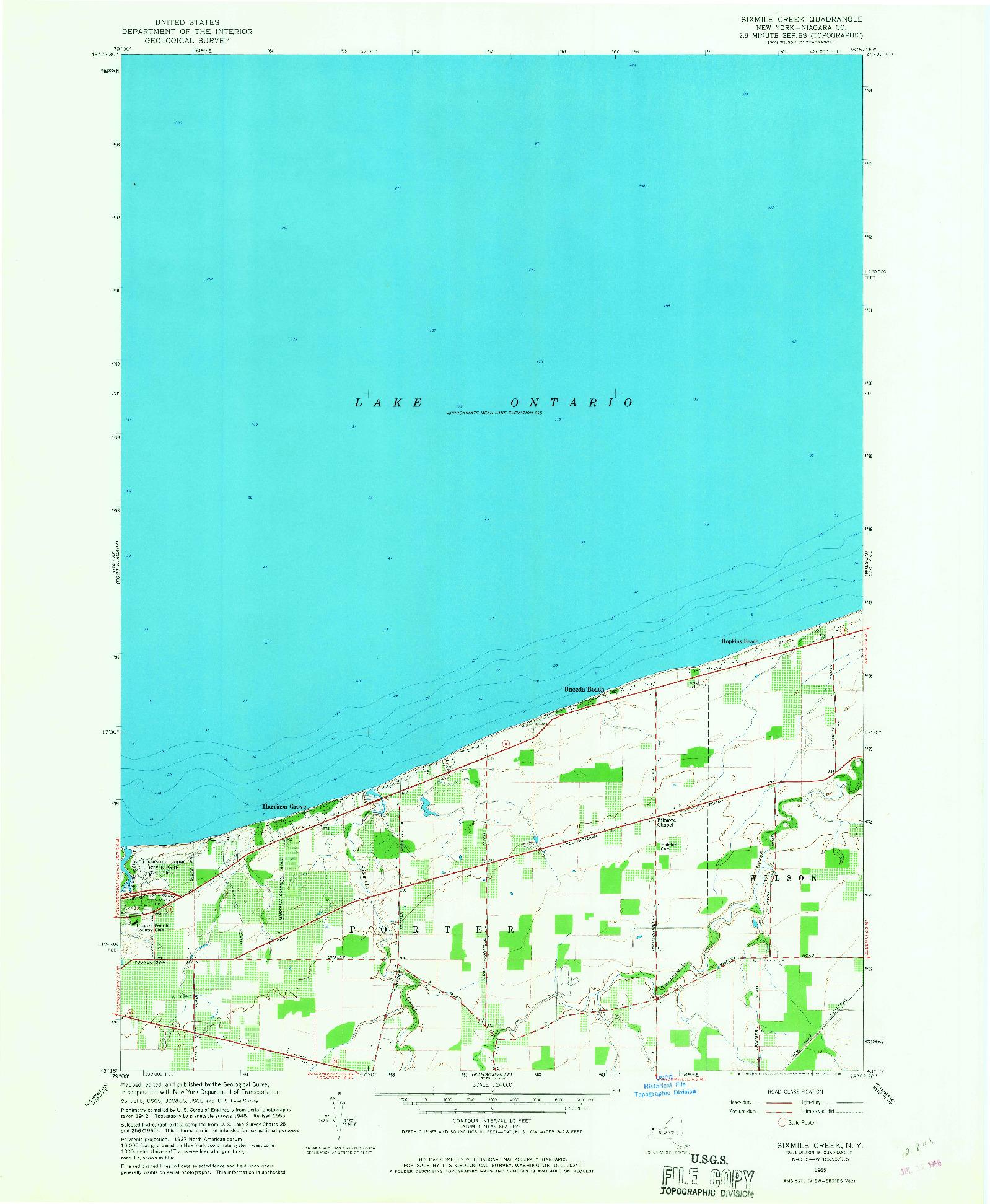 USGS 1:24000-SCALE QUADRANGLE FOR SIXMILE CREEK, NY 1965