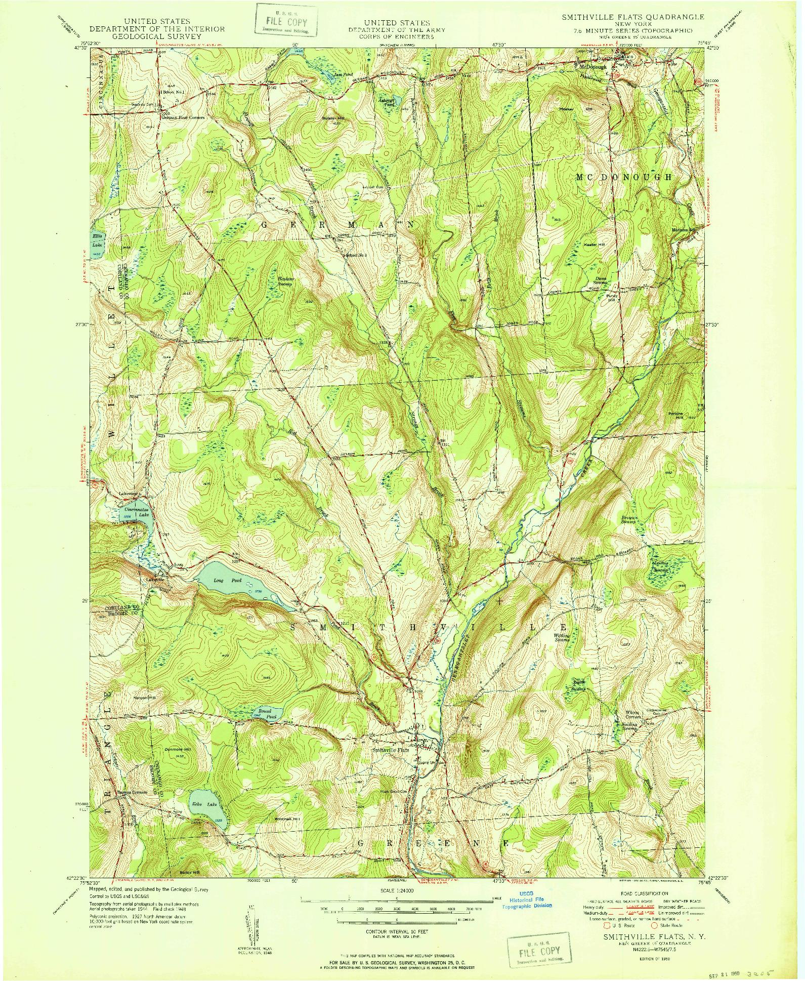 USGS 1:24000-SCALE QUADRANGLE FOR SMITHVILLE FLATS, NY 1948