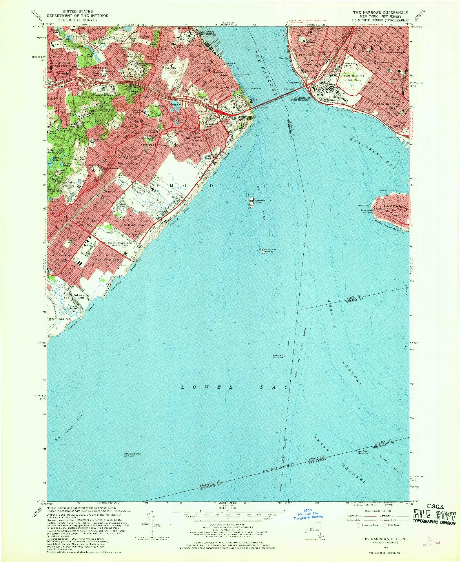 USGS 1:24000-SCALE QUADRANGLE FOR THE NARROWS, NY 1966