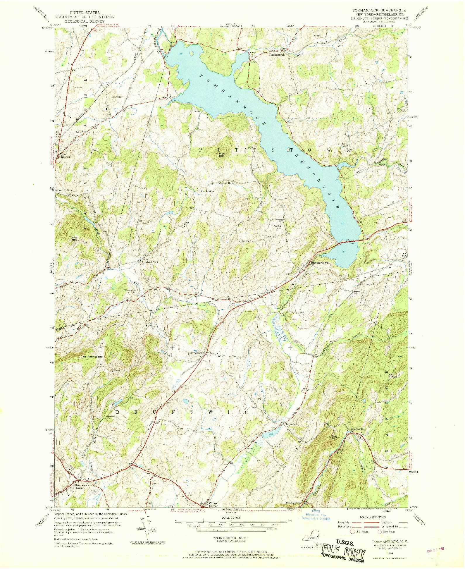 USGS 1:24000-SCALE QUADRANGLE FOR TOMHANNOCK, NY 1954