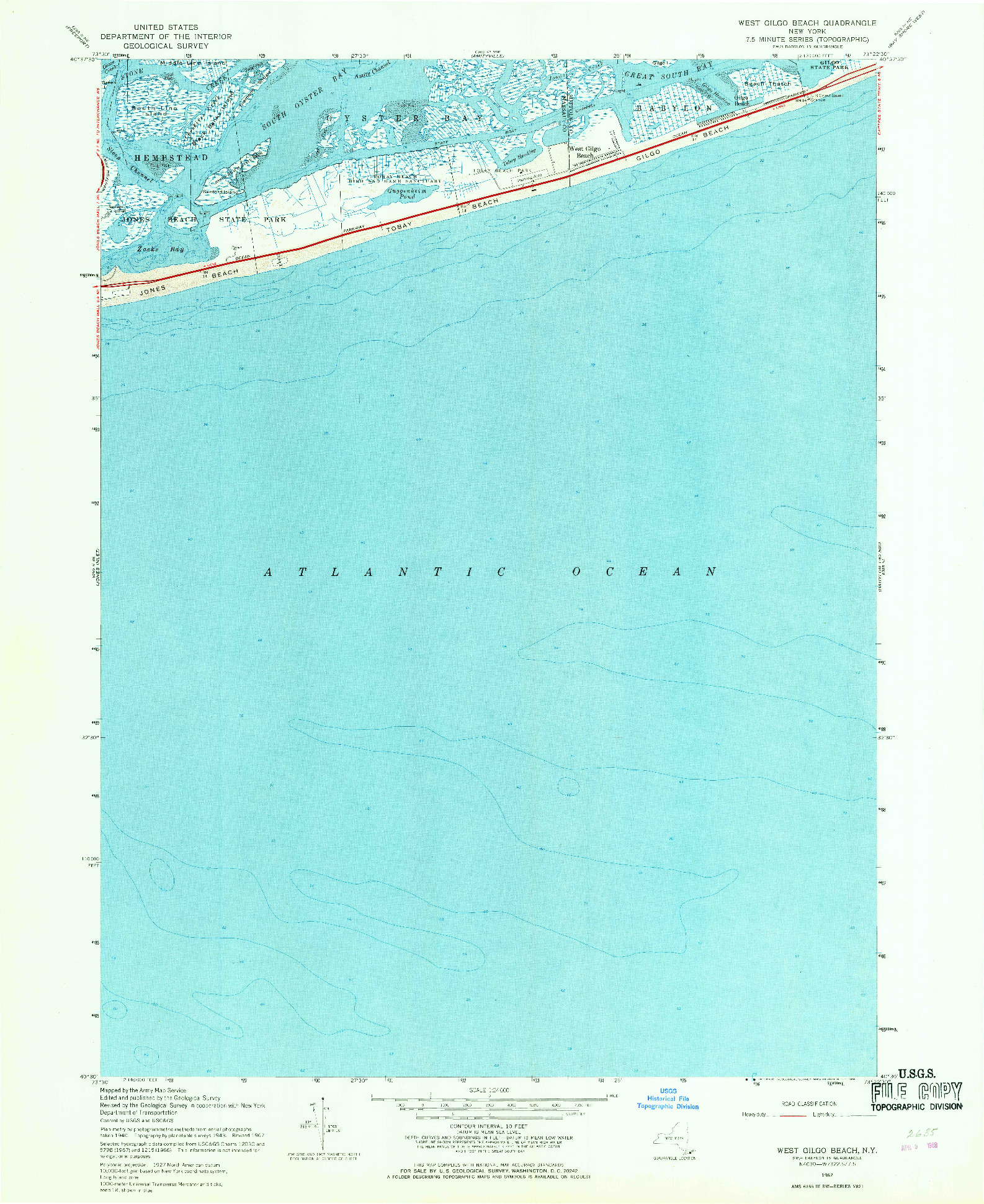 USGS 1:24000-SCALE QUADRANGLE FOR WEST GILGO BEACH, NY 1967