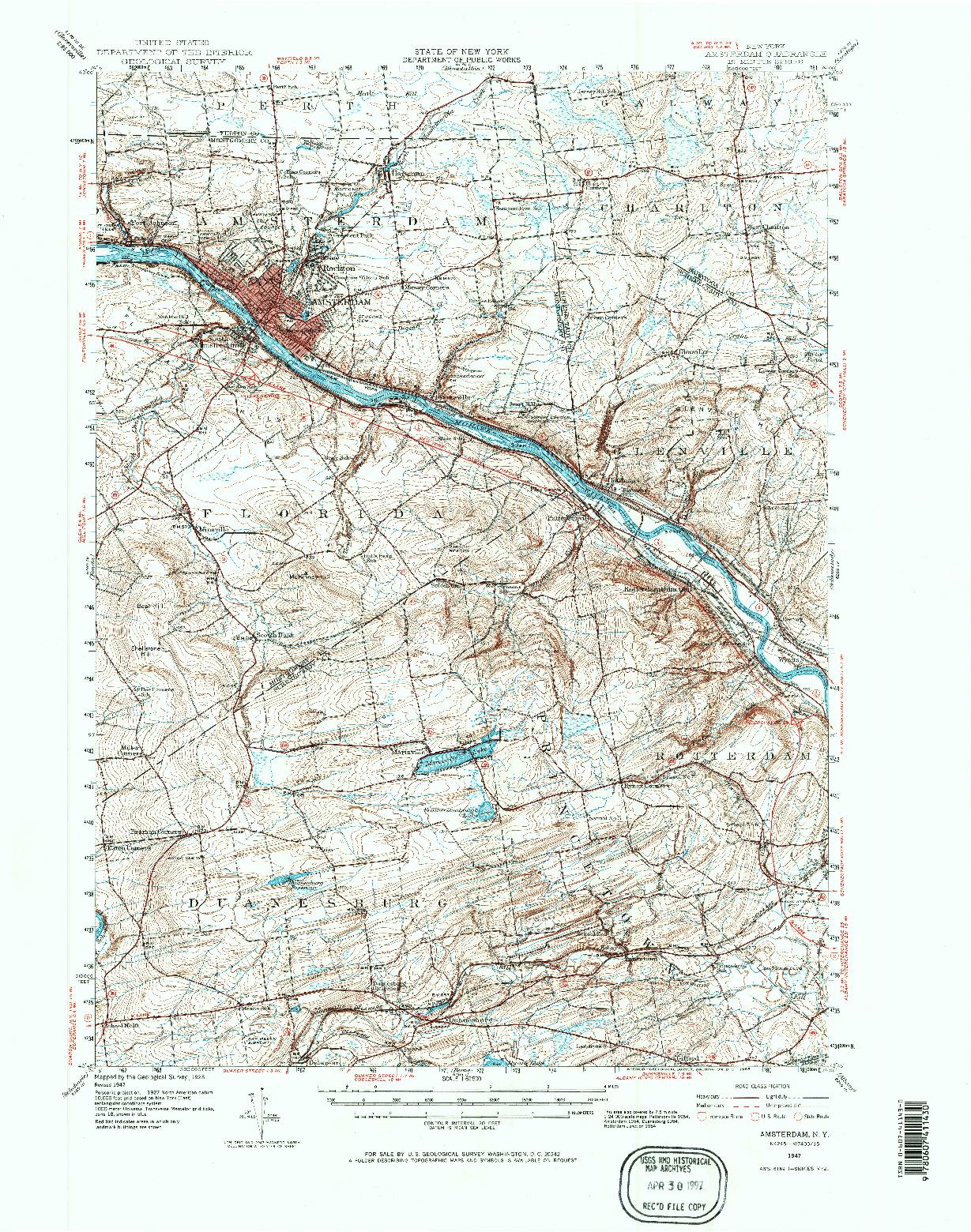 USGS 1:62500-SCALE QUADRANGLE FOR AMSTERDAM, NY 1947
