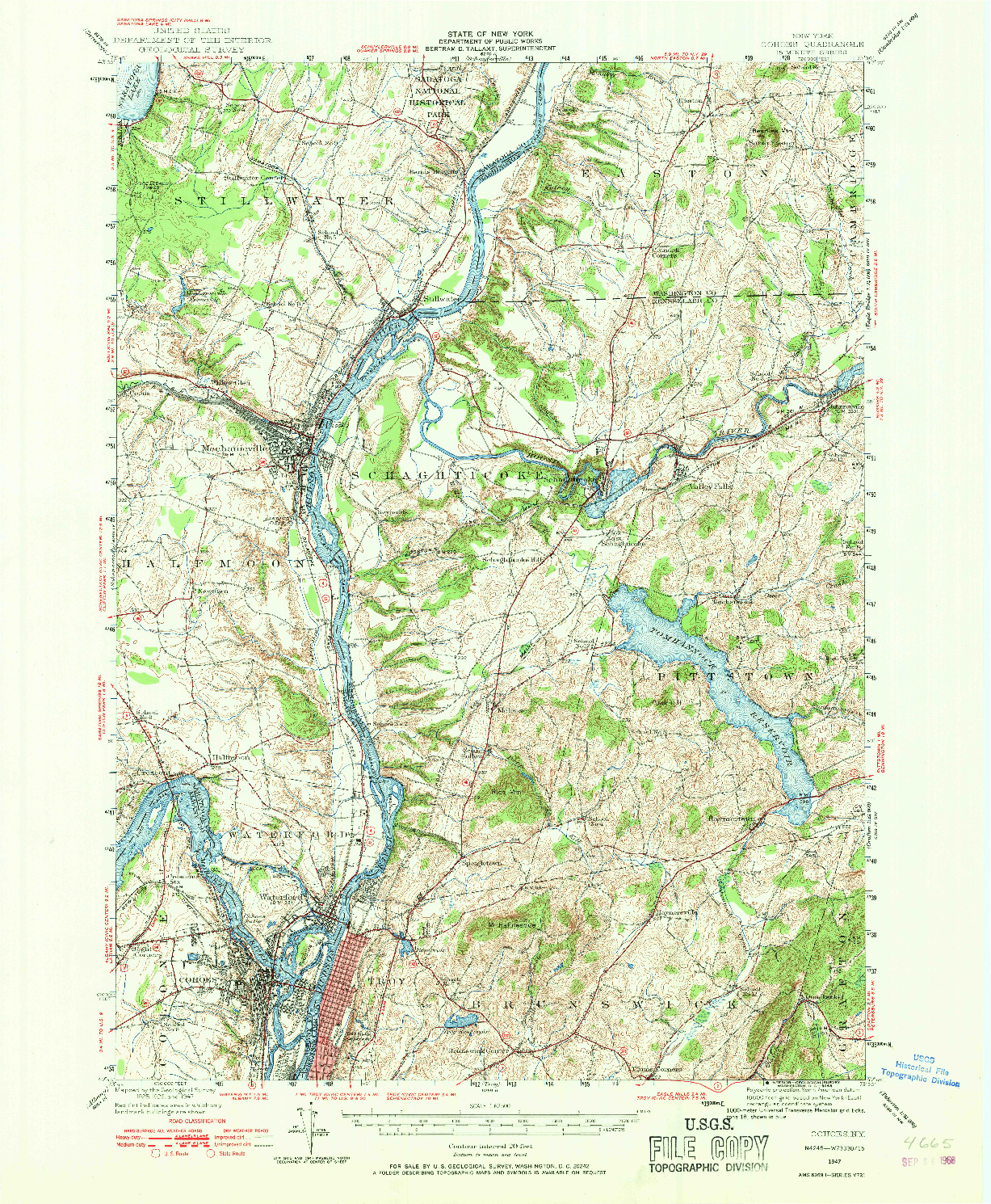 USGS 1:62500-SCALE QUADRANGLE FOR COHOES, NY 1947