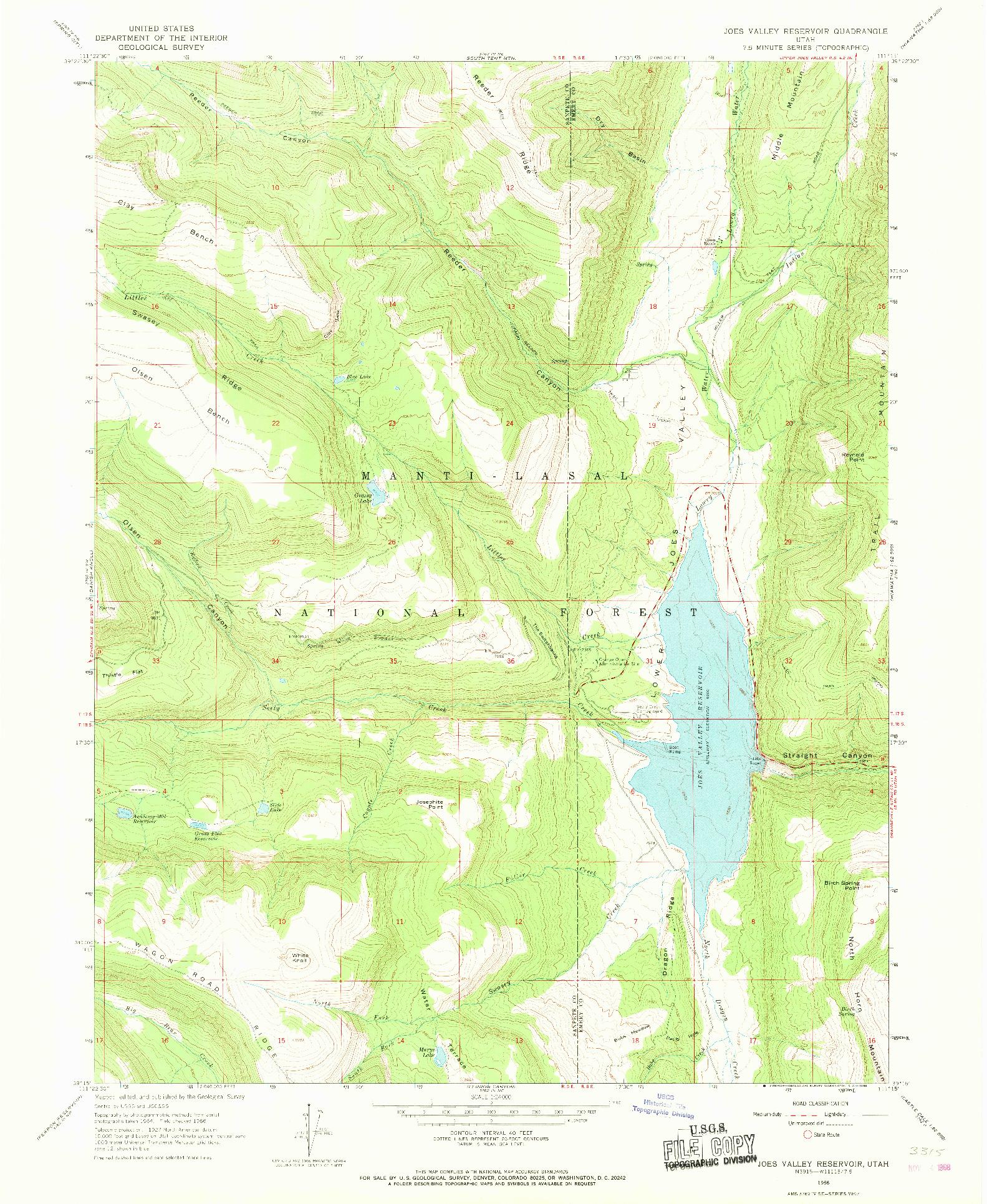 USGS 1:24000-SCALE QUADRANGLE FOR JOES VALLEY RESERVOIR, UT 1966