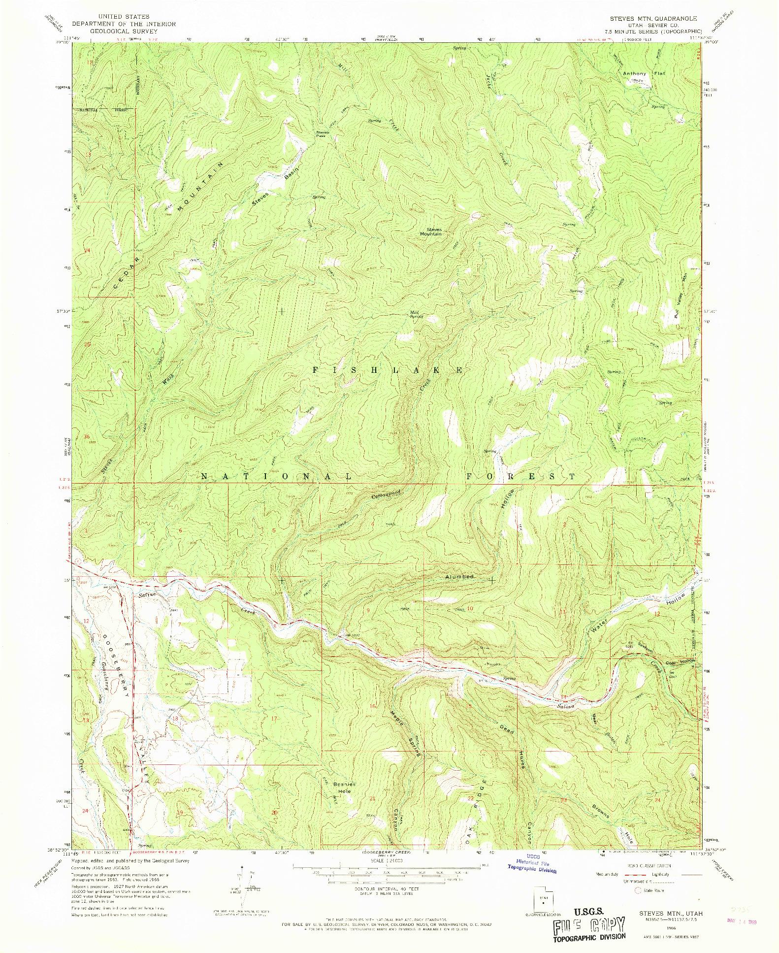 USGS 1:24000-SCALE QUADRANGLE FOR STEVES MTN, UT 1966
