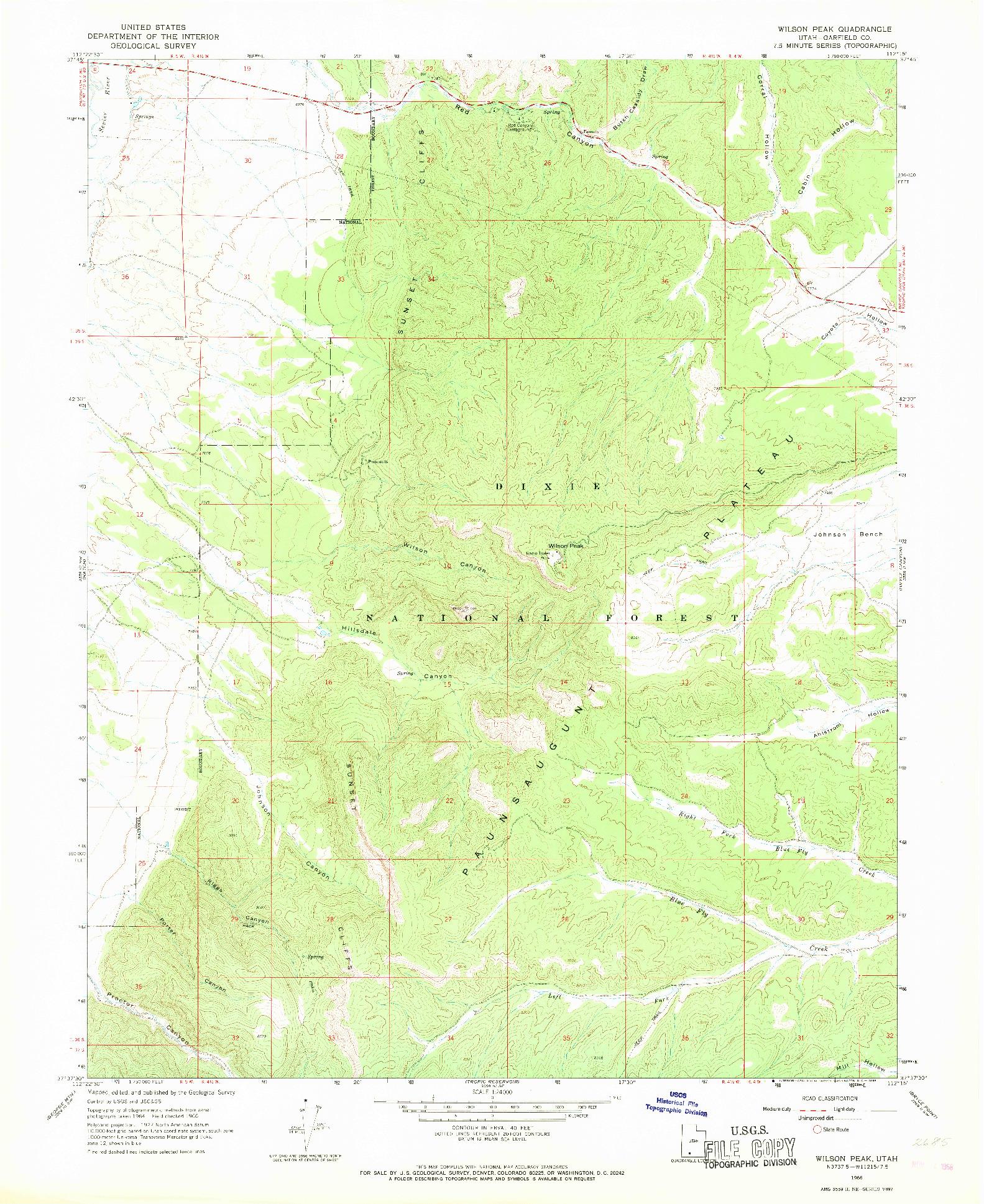 USGS 1:24000-SCALE QUADRANGLE FOR WILSON PEAK, UT 1966
