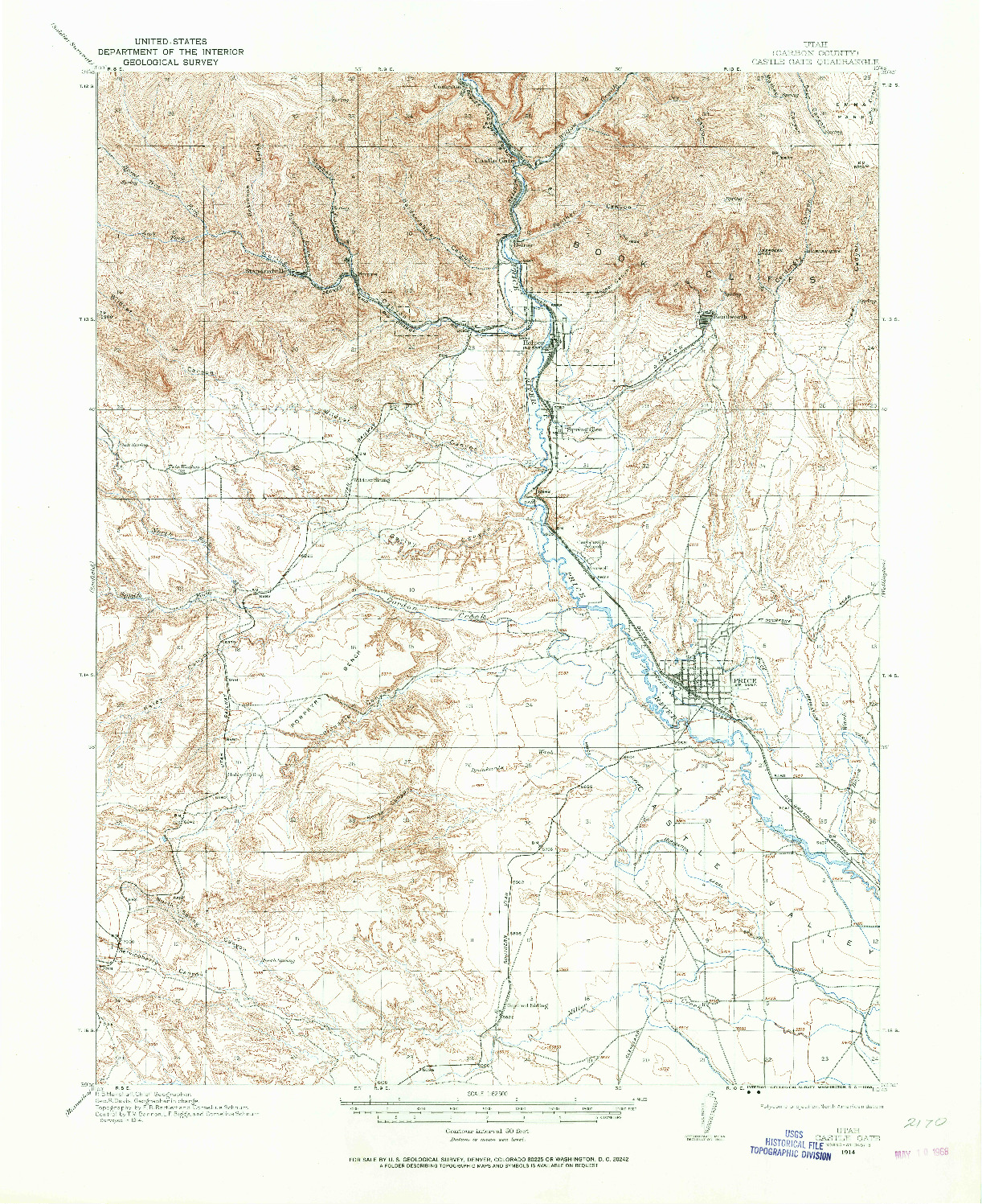 USGS 1:62500-SCALE QUADRANGLE FOR CASTLE GATE, UT 1914