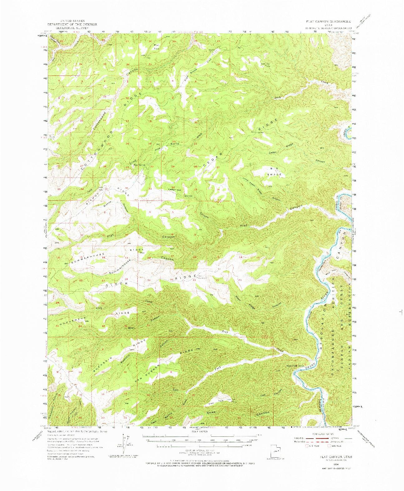 USGS 1:62500-SCALE QUADRANGLE FOR FLAT CANYON, UT 1954