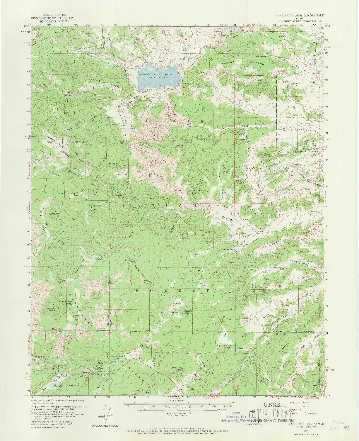 USGS 1:62500-SCALE QUADRANGLE FOR PANGUITCH LAKE, UT 1958