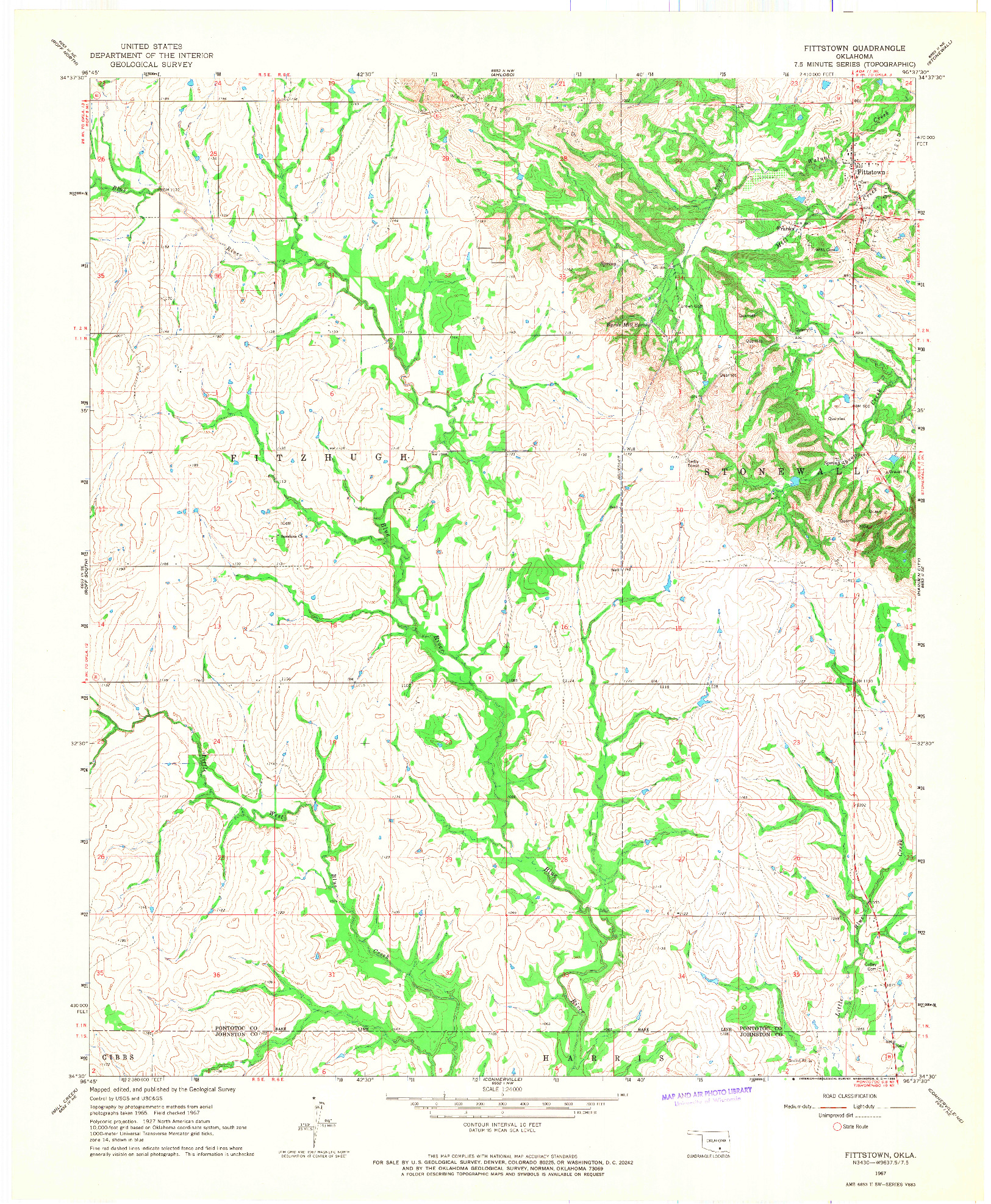 USGS 1:24000-SCALE QUADRANGLE FOR FITTSTOWN, OK 1967