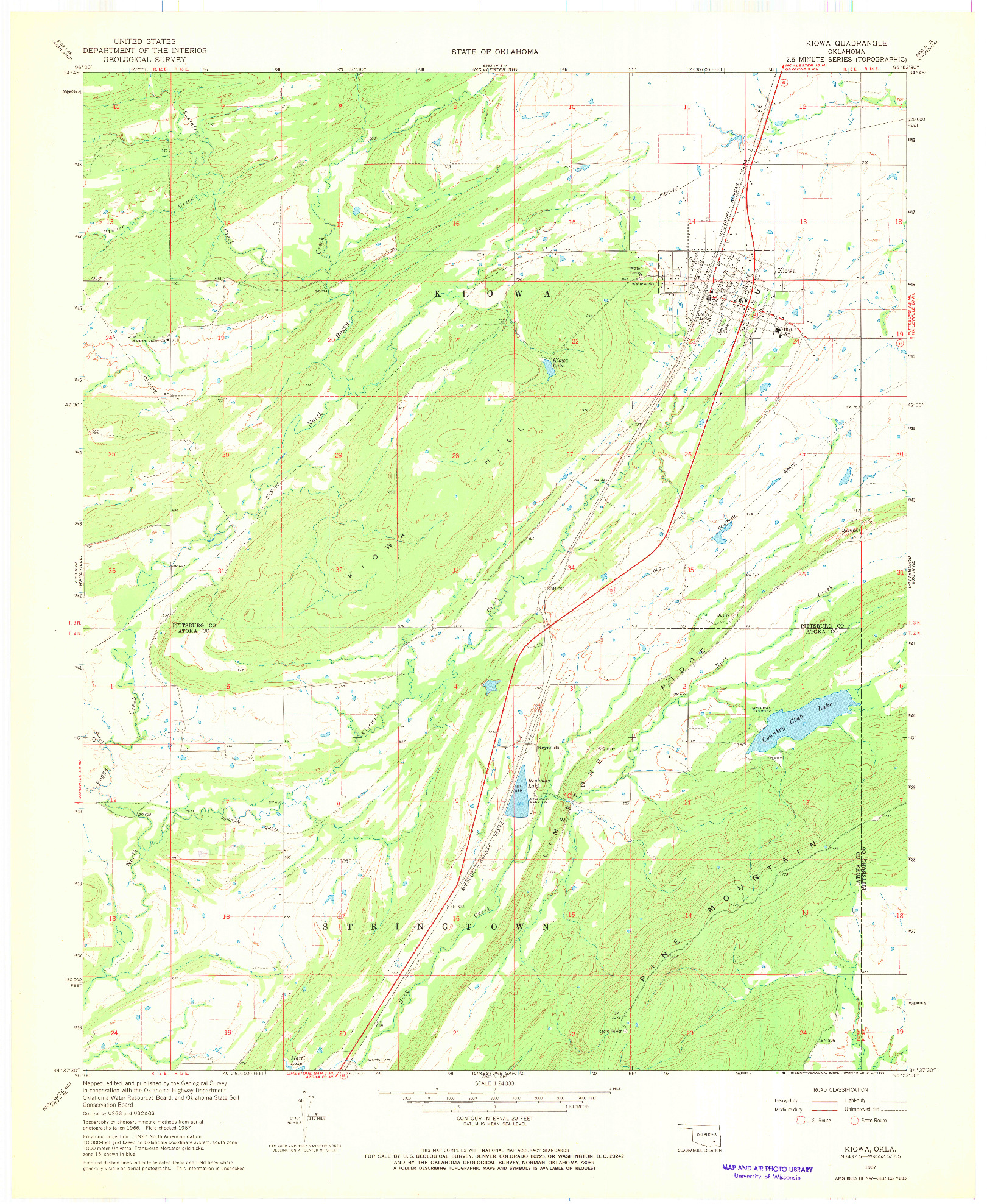 USGS 1:24000-SCALE QUADRANGLE FOR KIOWA, OK 1967